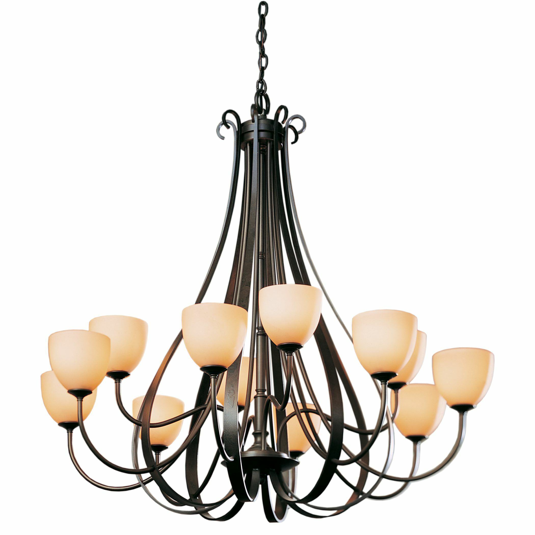 12-Light Shaded Chandelier Finish: Black, Shade Color: Pearl