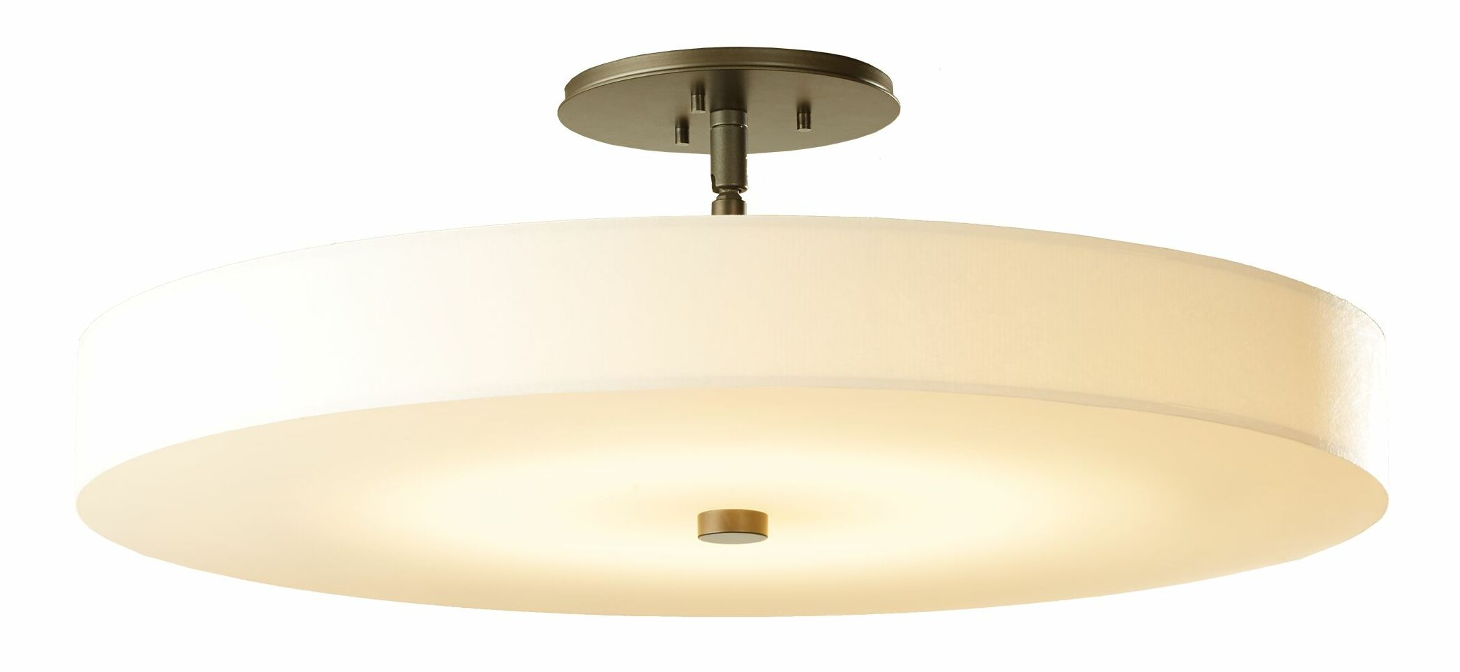 Disq 1-Light Semi Flush Mount Shade Color: Cork, Finish: Bronze