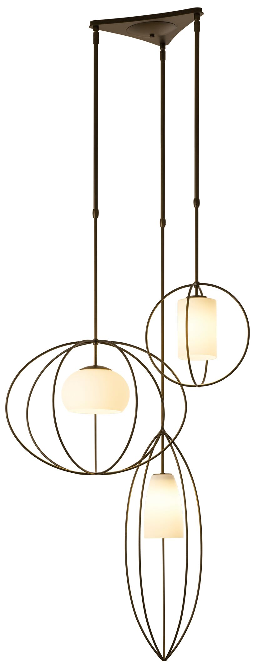 Interlude Treble 3-Light Cluster Pendant Size: Small, Finish: Burnished Steel