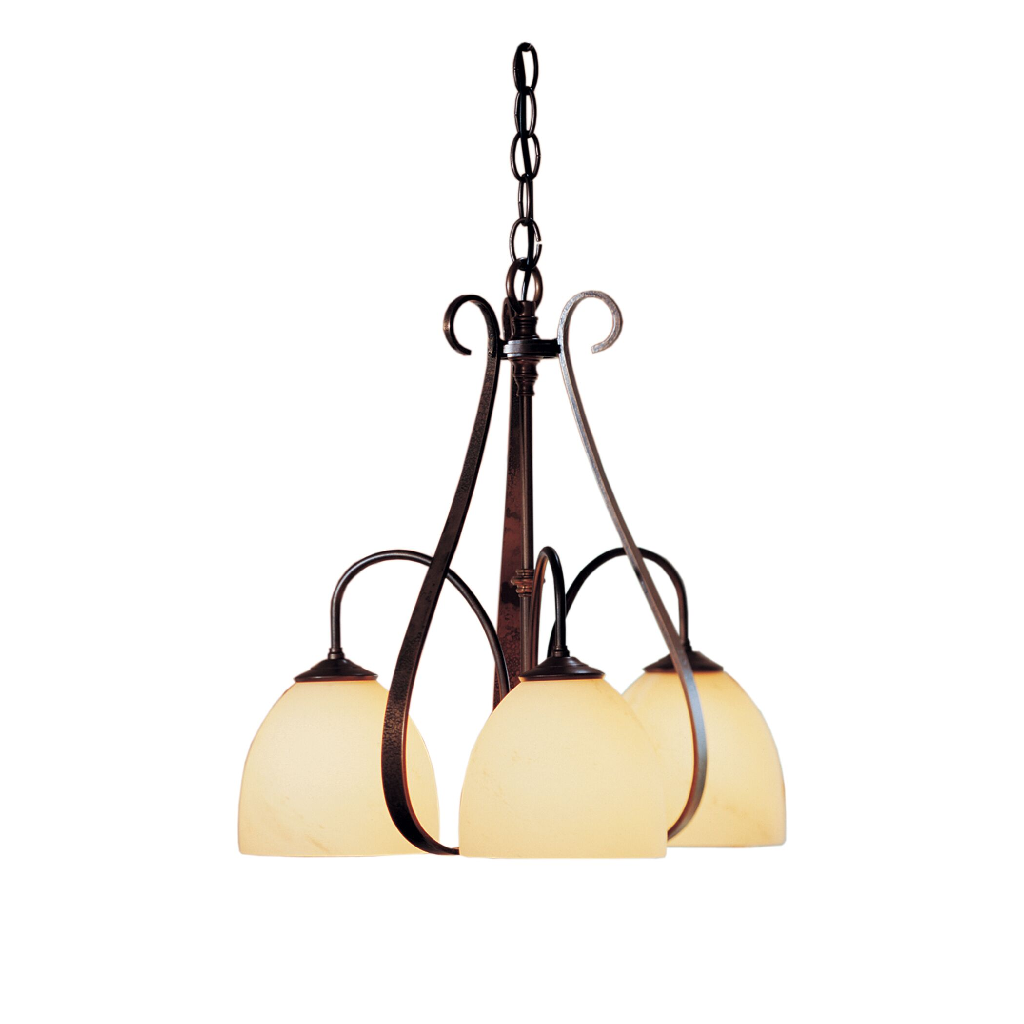 3-Light Shaded Chandelier Finish: Natural lron, Shade Shape: Dome, Shade Color: Stone