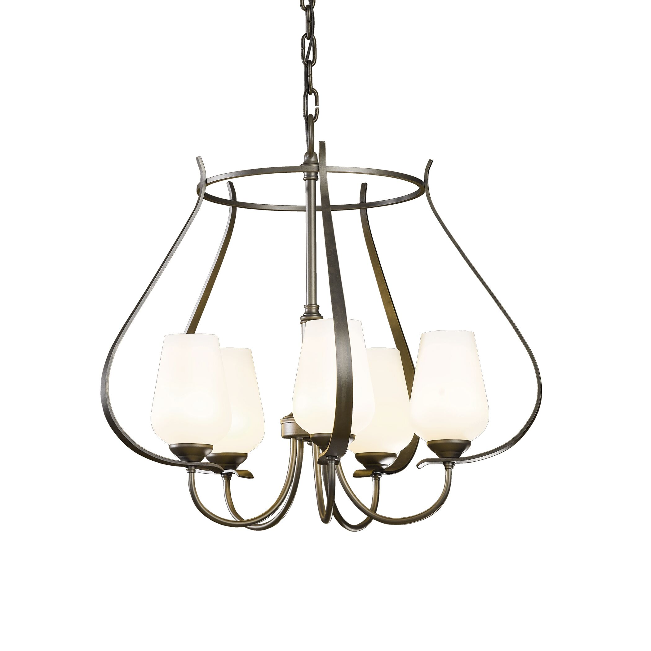 Flora 5-Light Foyer Pendant Glass Type: Opal Glass, Finish: Bronze