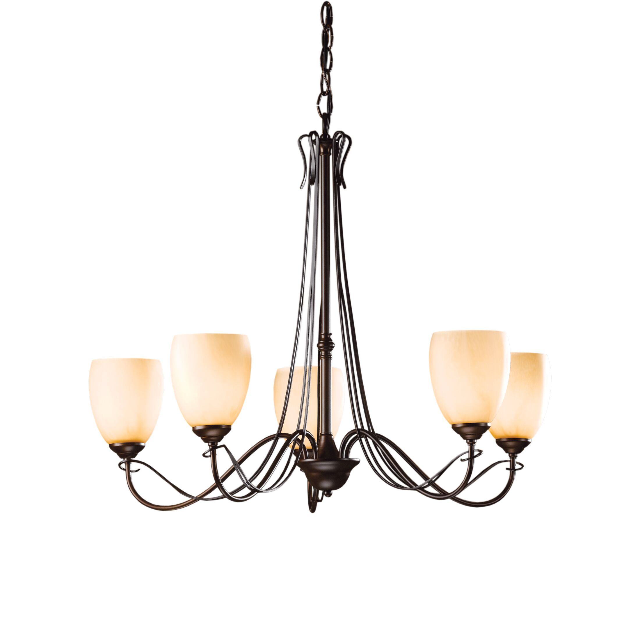 Trellis 5-Light Shaded Chandelier Finish: Bronze, Shade Color: Pearl
