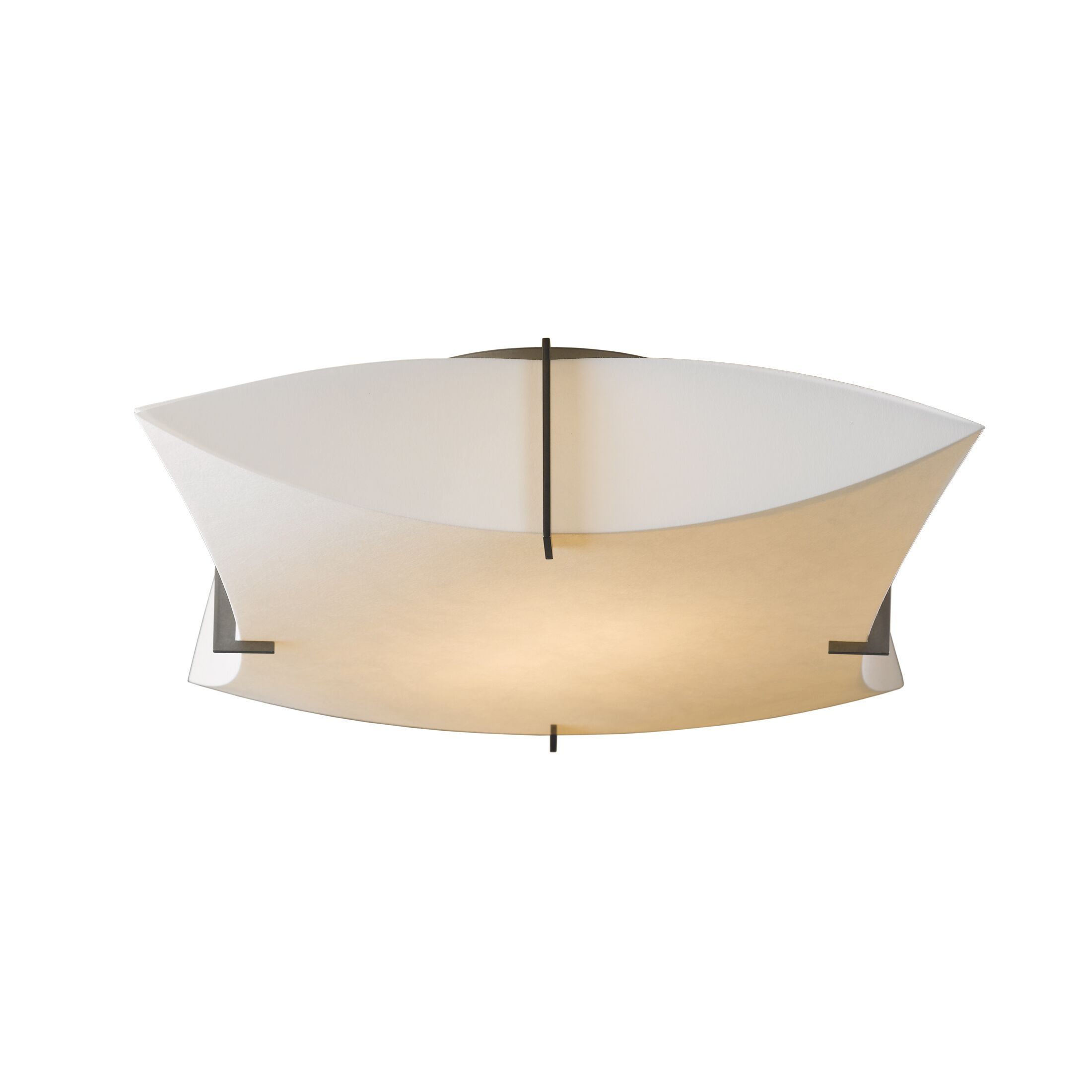 Bento 2-Light Semi Flush Mount Shade Color: Spun Amber, Finish: Translucent Bronze