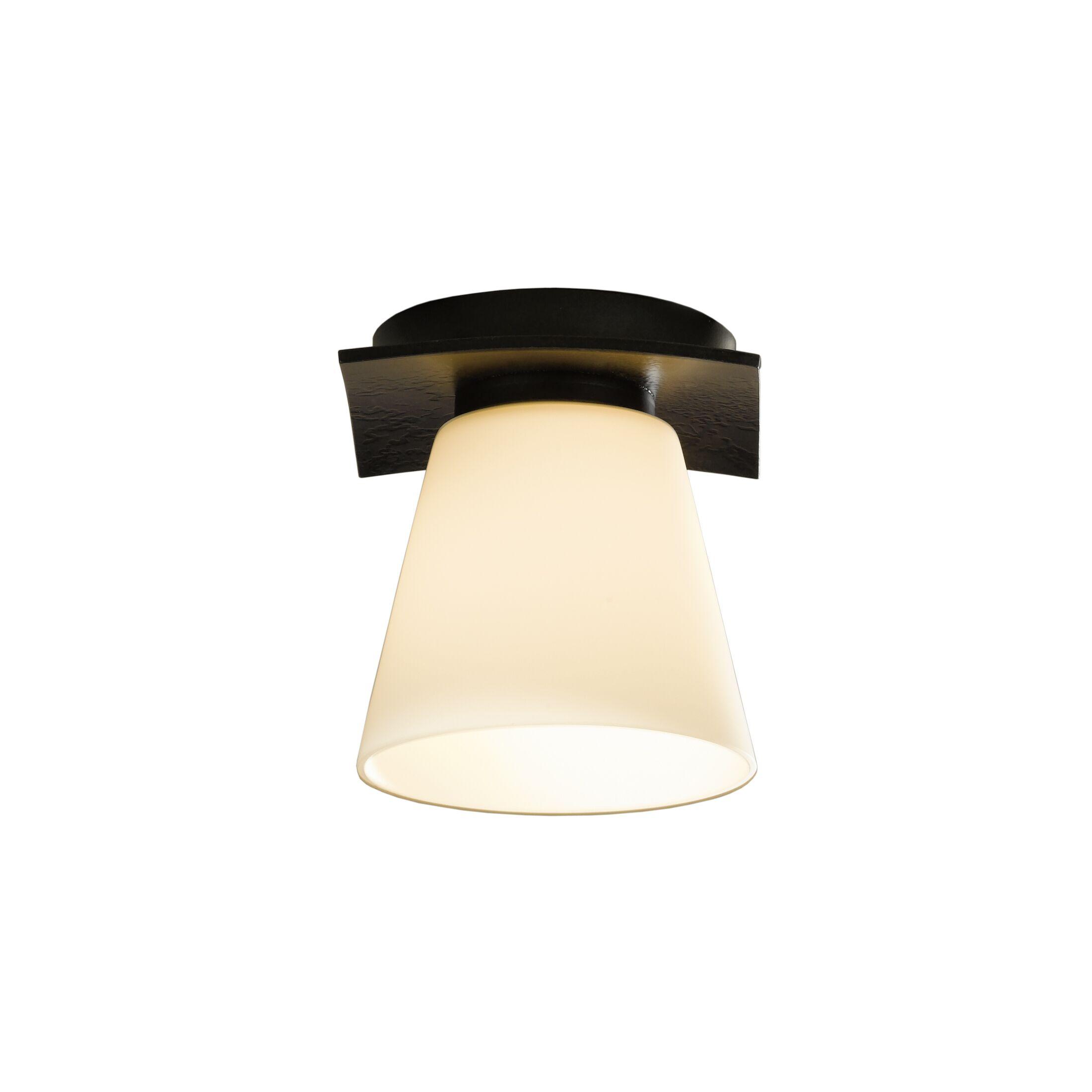 Wren 1-Light Semi Flush Mount Finish: Mahogany, Shade Color: Opal, Bulb Type: (1) 60W fluorescent bulb