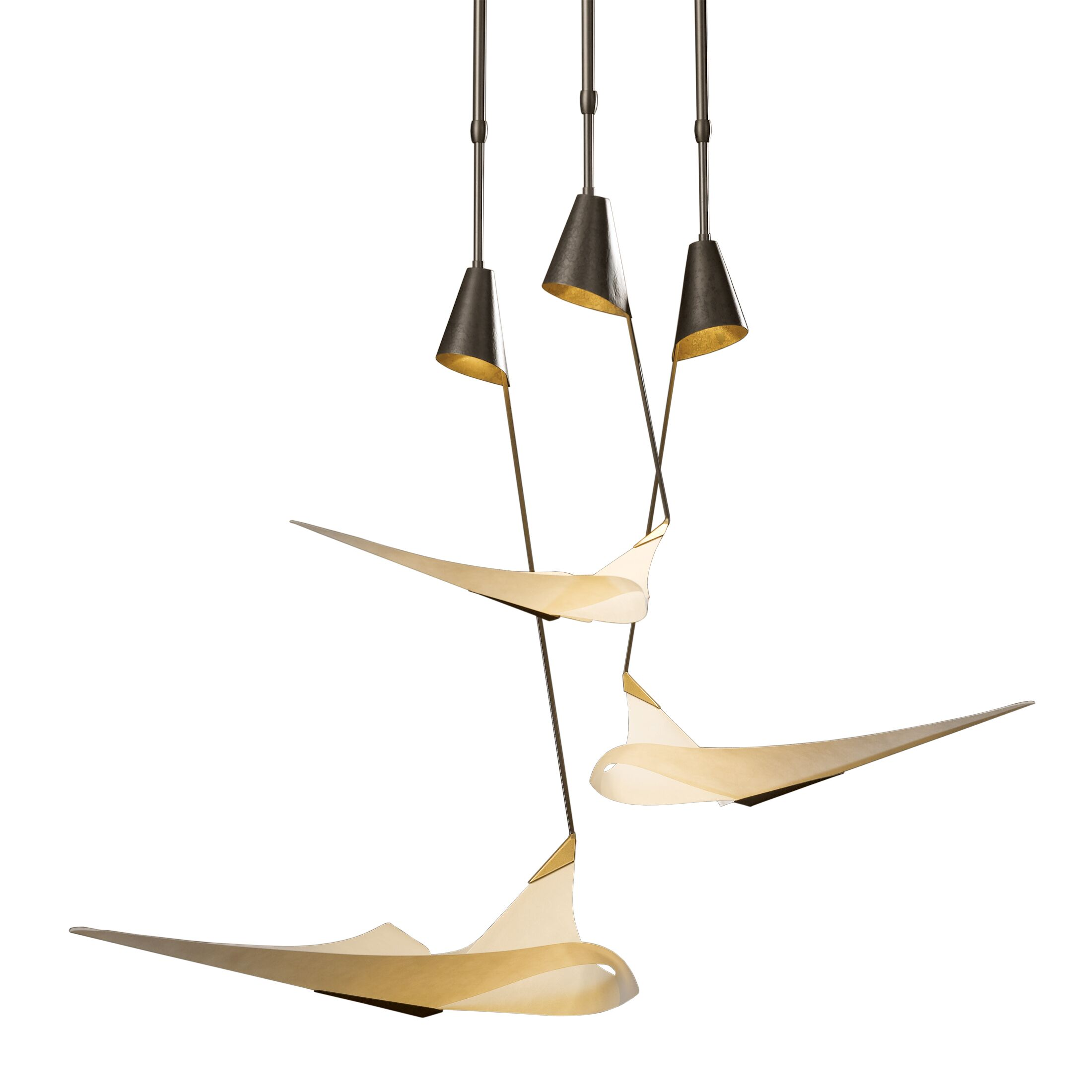 Icarus 3-Light Cluster Pendant Glass: Spun Frost, Finish: Translucent Burnished Steel