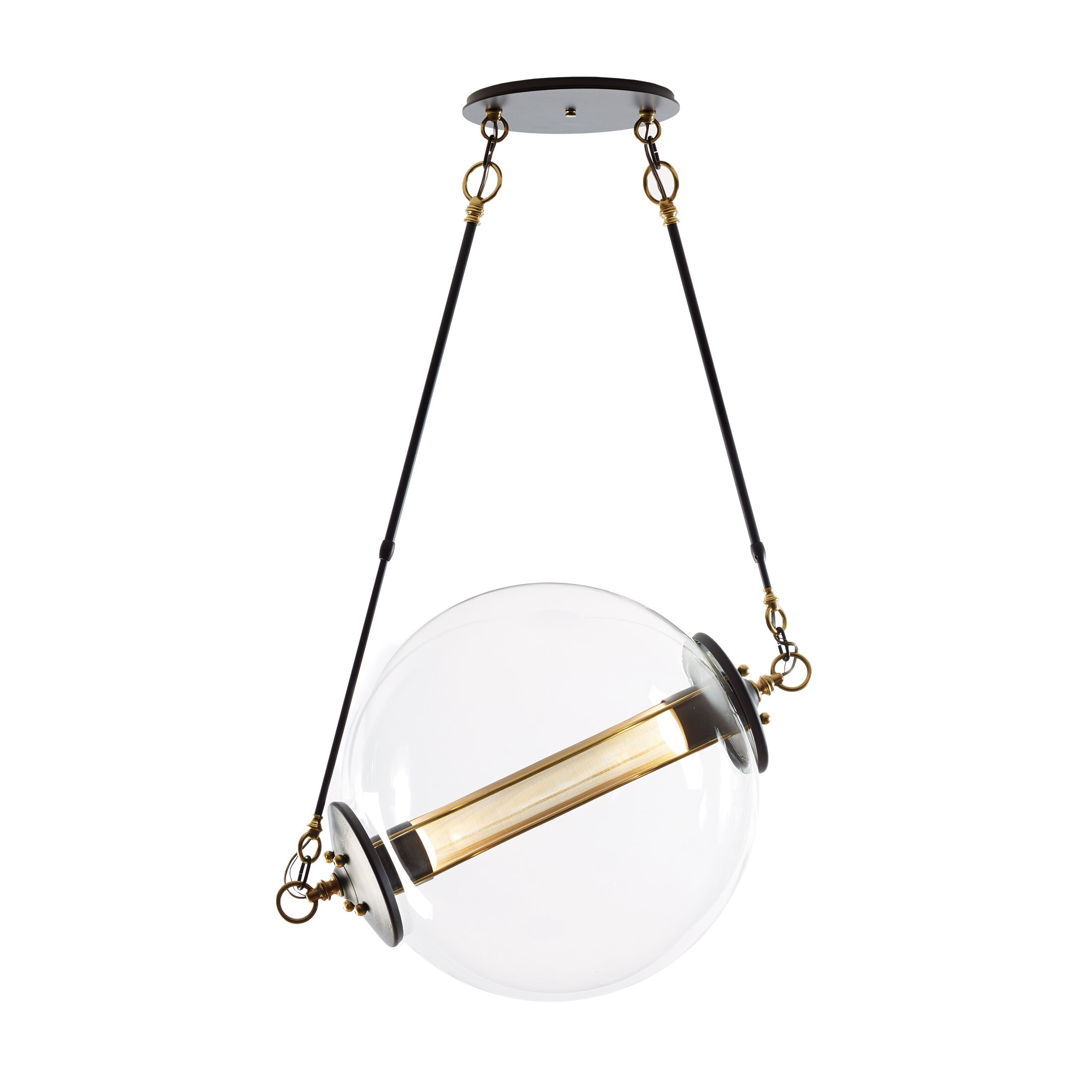 Otto 2-Light Pendant Shade Color: Clear with Frost, Size: Large