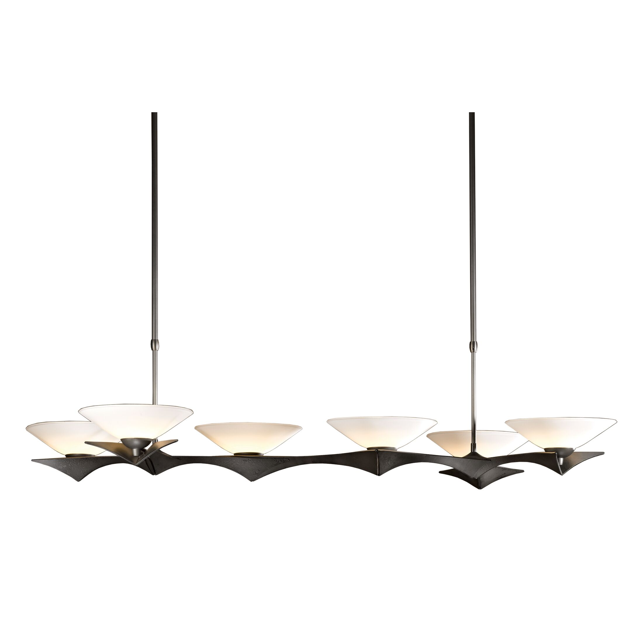 Moreau 6-Light Kitchen Island Pendant Glass Type: Opal Glass, Stem Length: 48.6