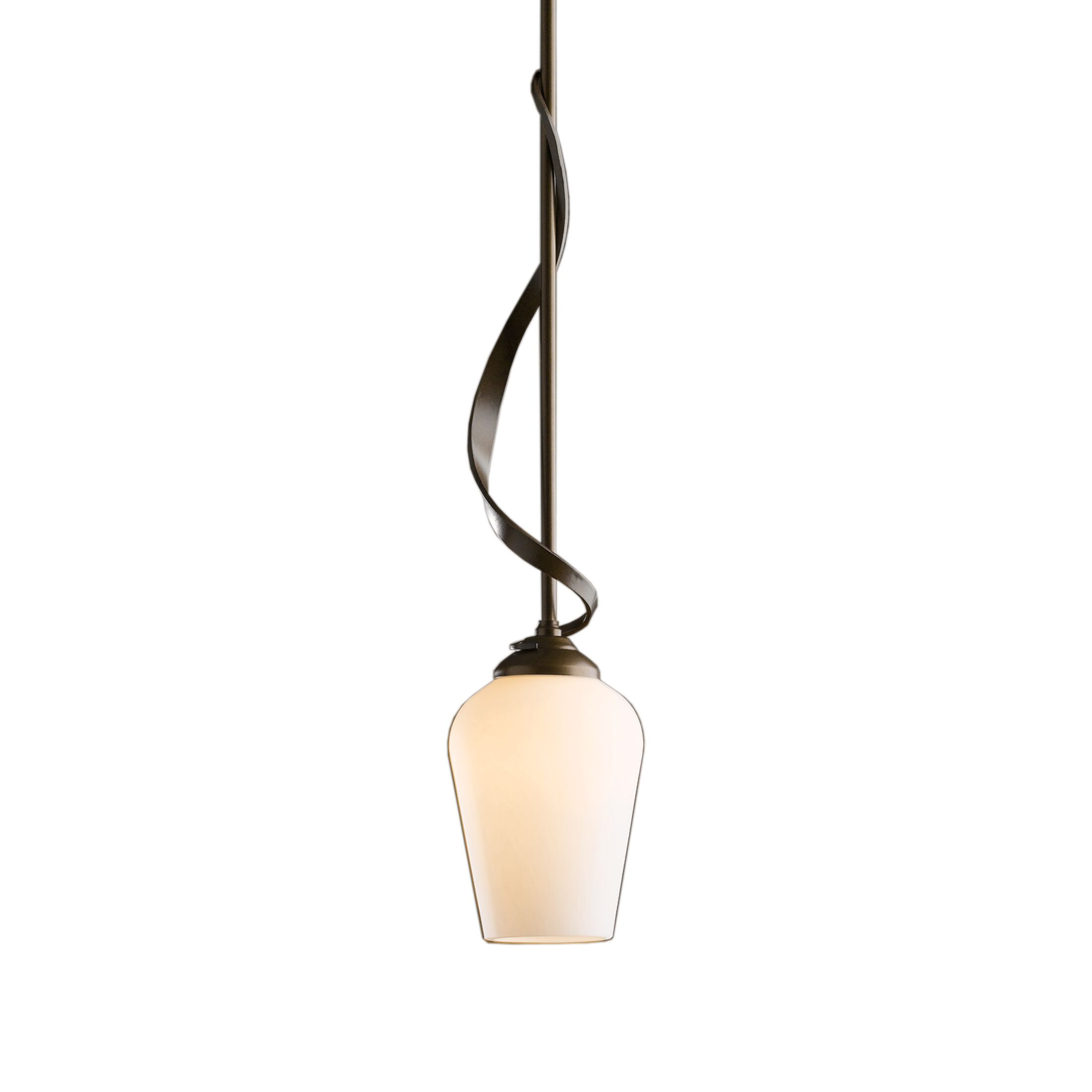 Flora 1-Light Cone Pendant Glass: Seeded Clear, Finish: Translucent Burnished Steel
