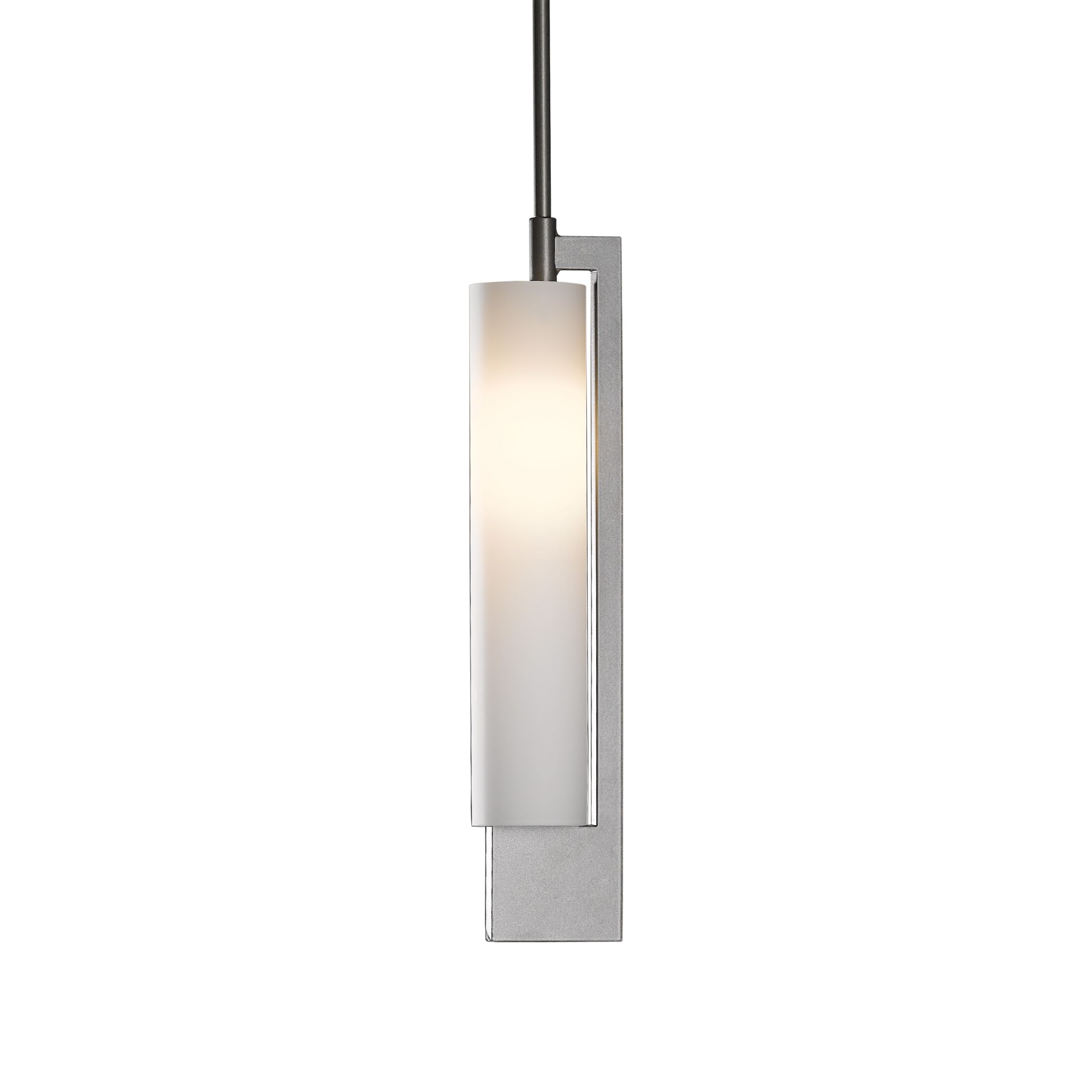 Axis 1-Light Cylinder Pendant Glass: Opal, Finish: Opaque Natural Iron