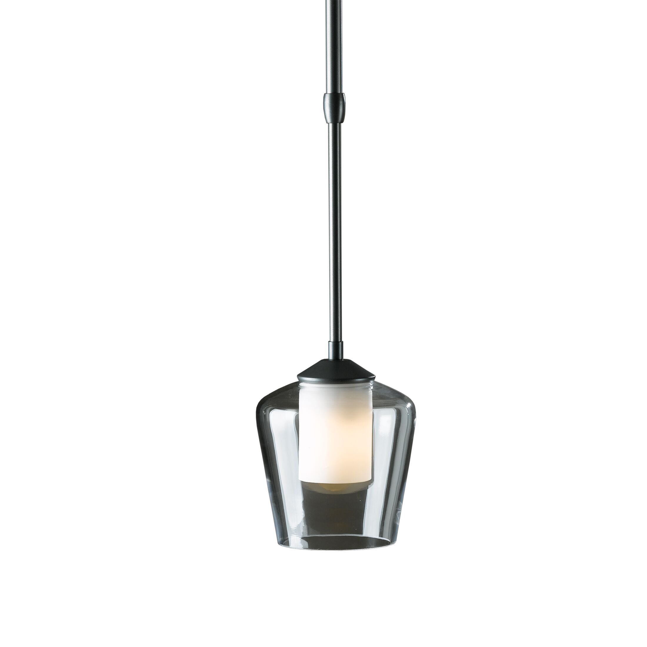 1-Light Cone Pendant Glass: Clear with Opal Diffuser, Finish: Opaque Natural Iron, Stem Length: Standard