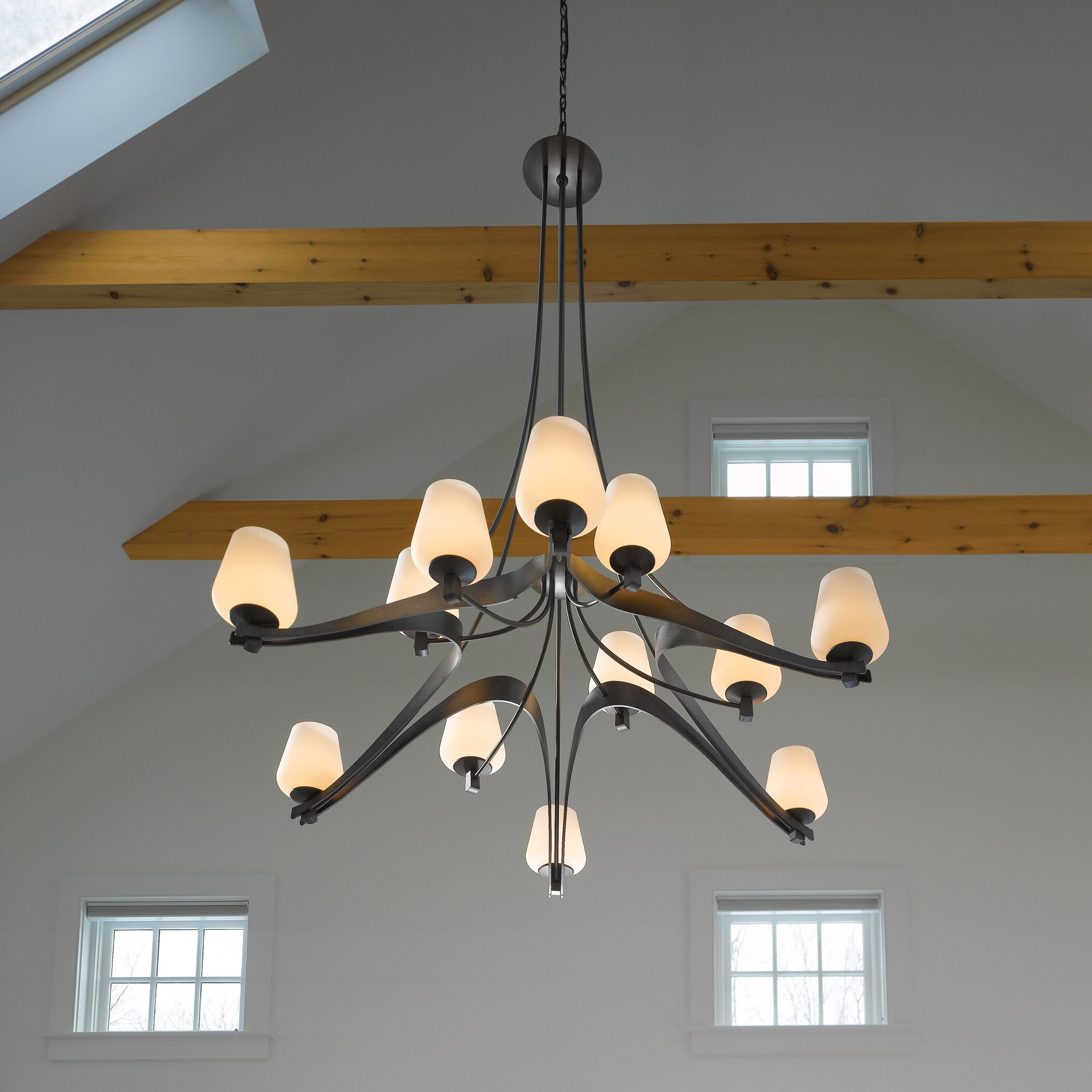 Ribbon 12-Light Shaded Chandelier Glass: Clear with Stone, Finish: Opaque Black