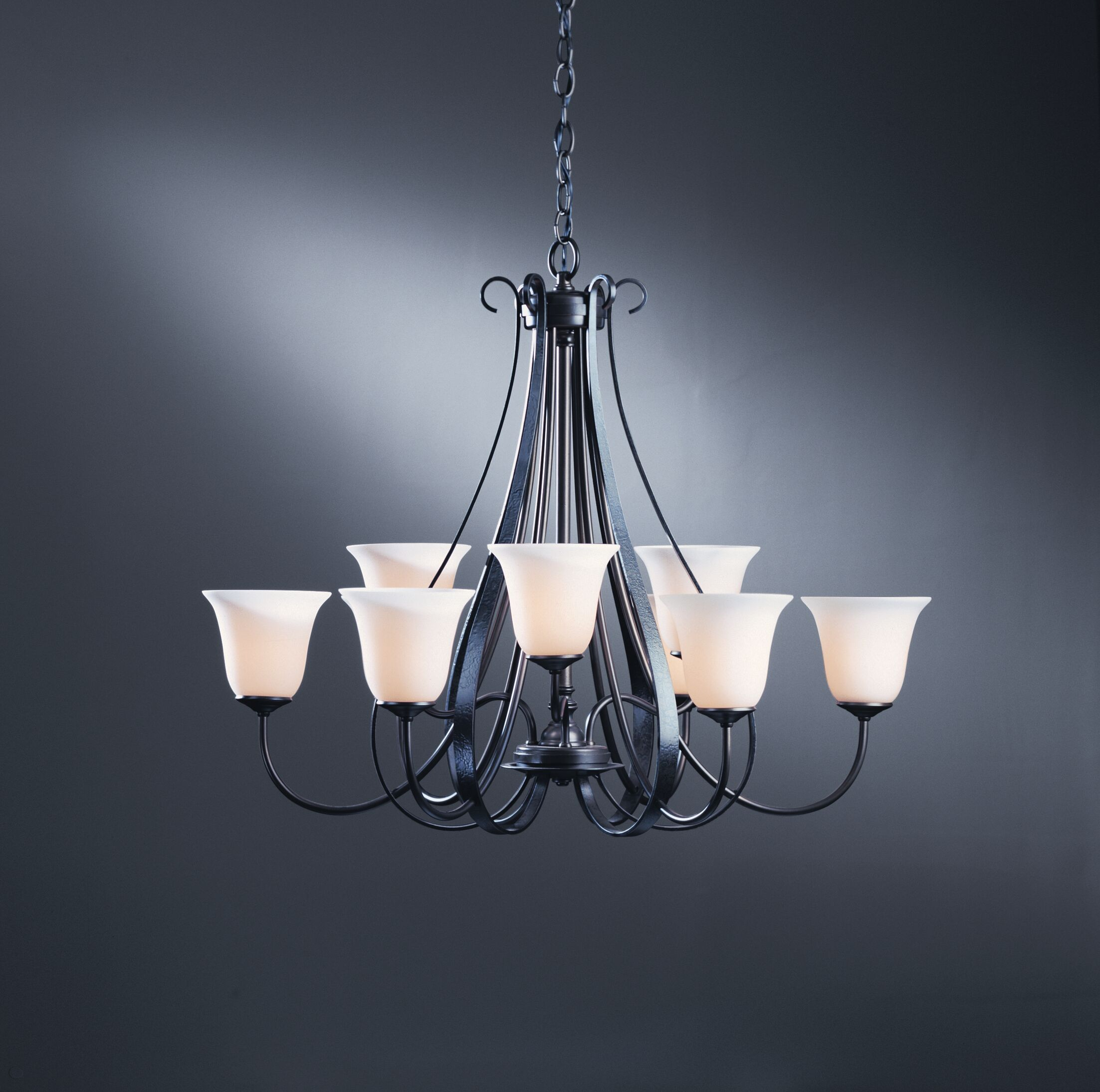 9-Light Shaded Chandelier Finish: Natural lron, Shade Color: Pearl