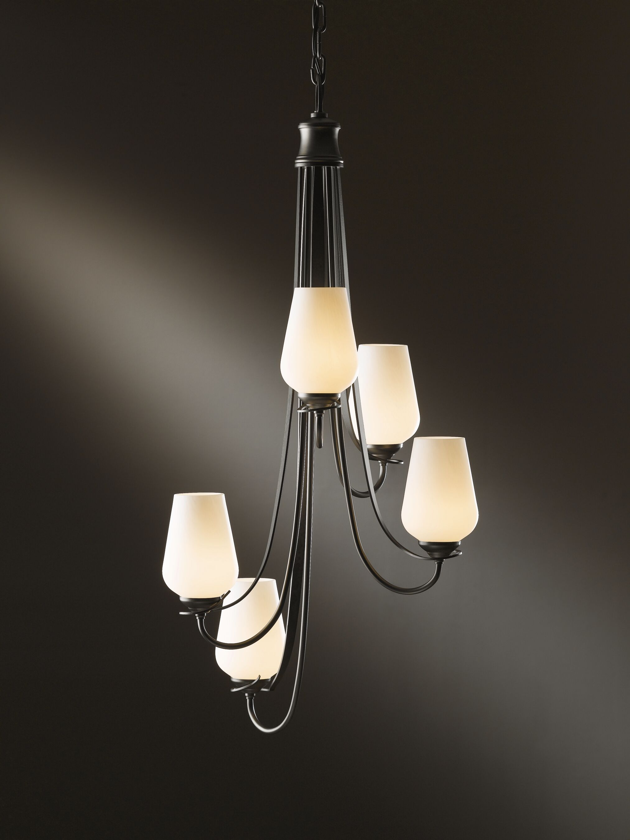 Flora 5-Light Shaded Chandelier Finish: Bronze, Shade Color: Stone