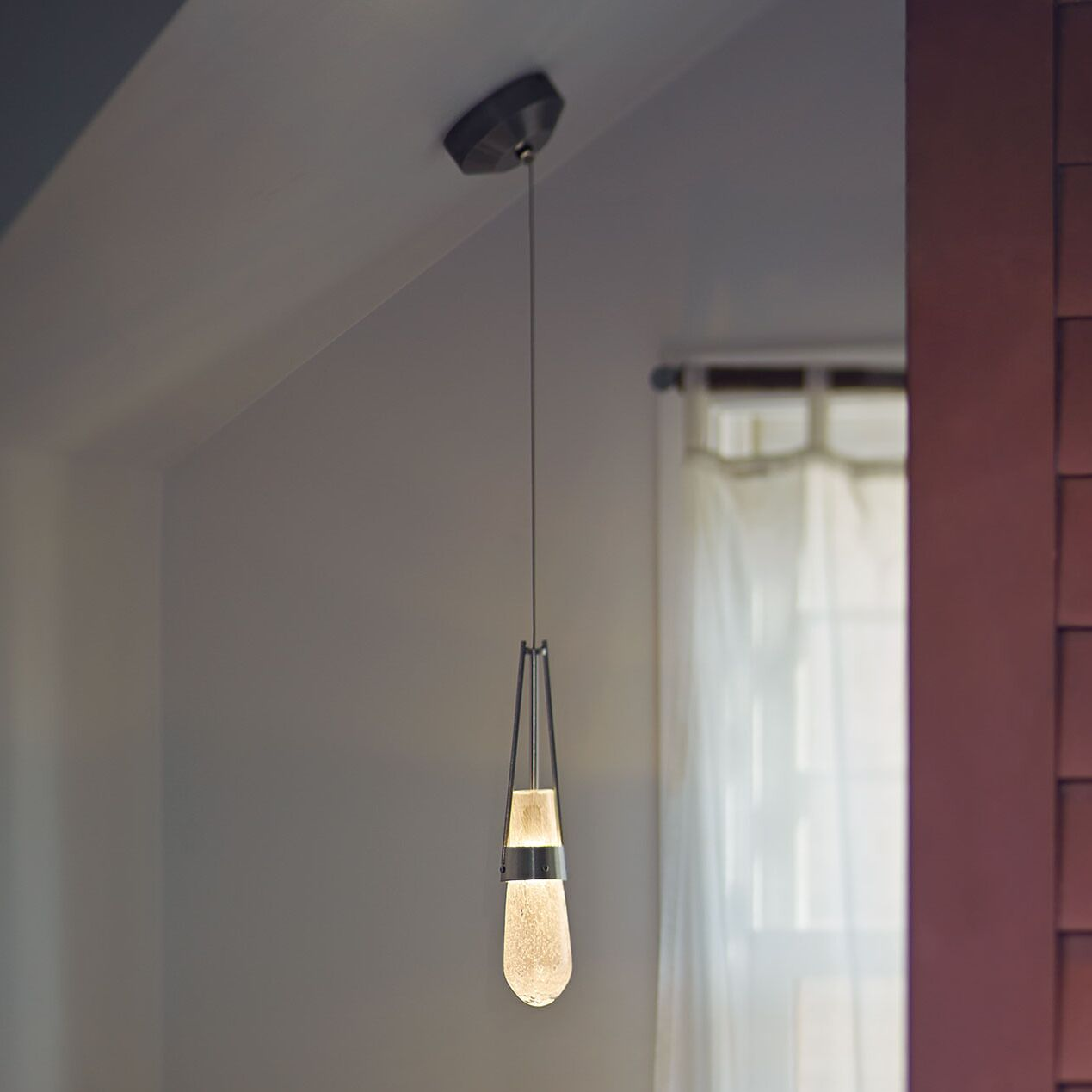 Link 1-Light Teardrop Pendant Shade Color: Clear Bubble, Installation Type: Universal Coaxial Connnector