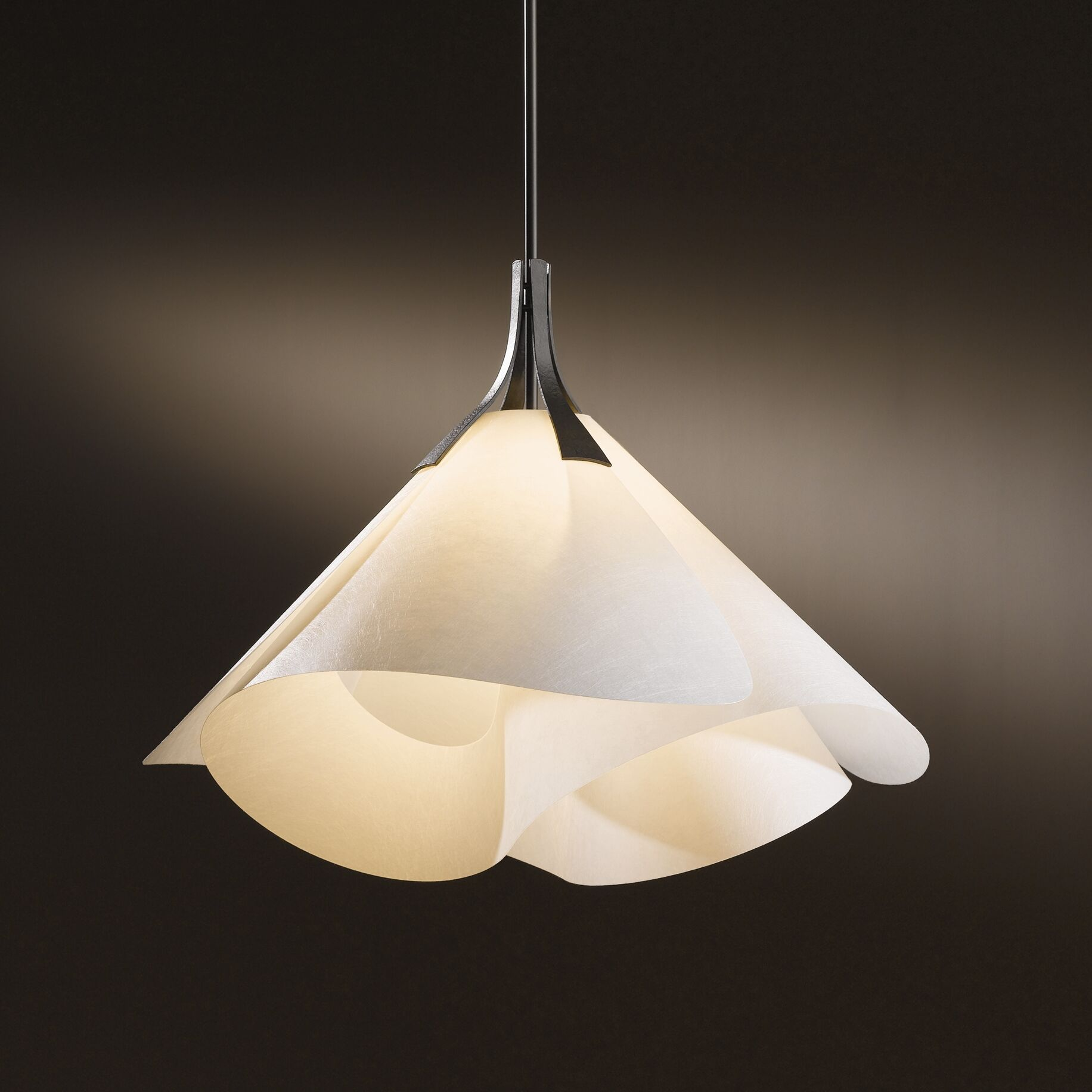 Mobius 1-Light Cone Pendant Shade: Natural Cork, Finish: Opaque Natural Iron