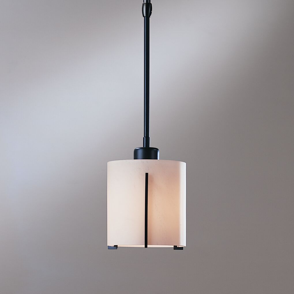 Exos 1-Light Drum Pendant Glass: Pearl, Finish: Translucent Burnished Steel