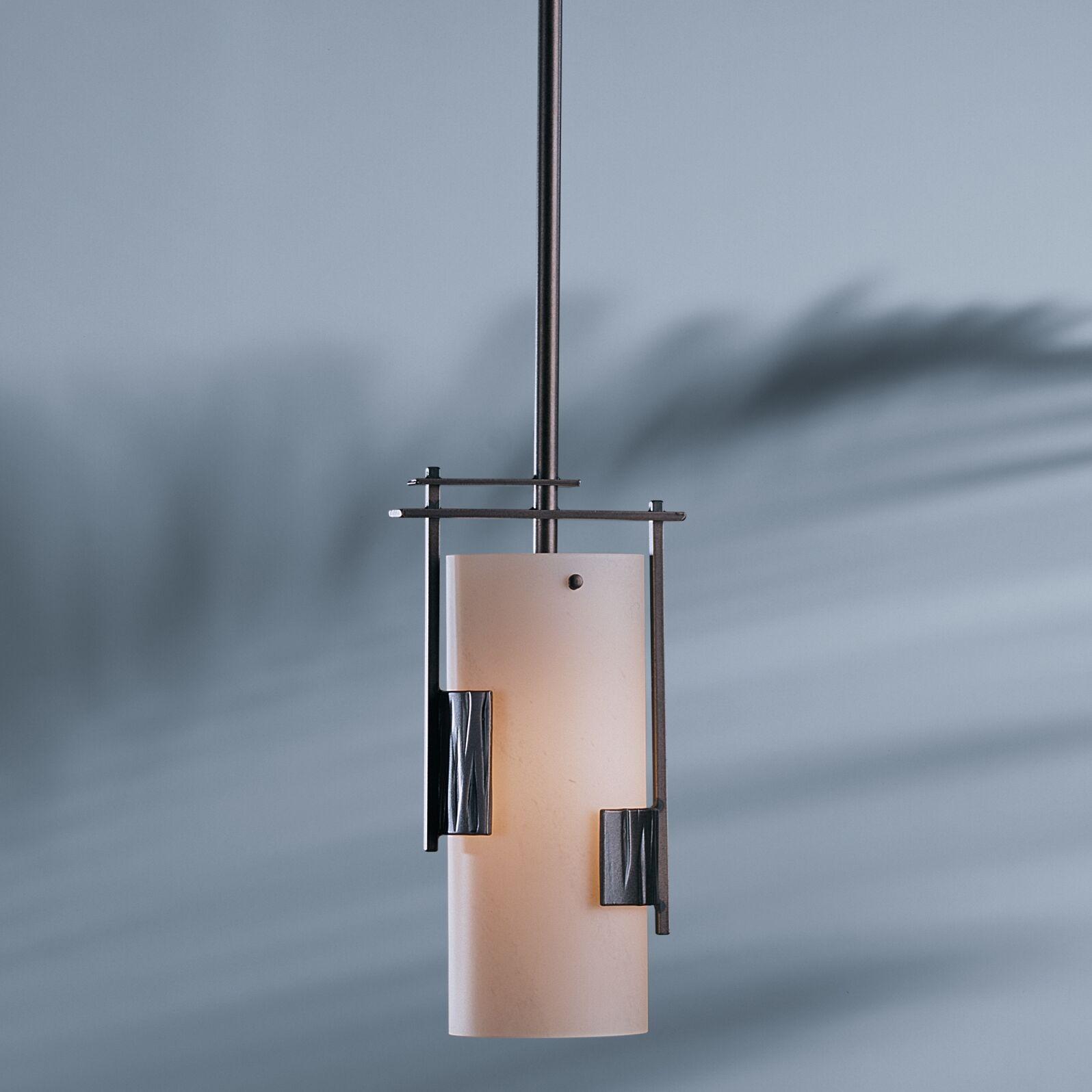1-Light Cylinder Pendant Glass: Opal, Finish: Opaque Natural Iron