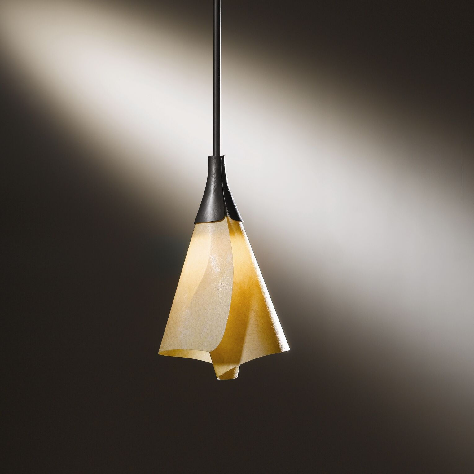 Mobius 1-Light Cone Pendant Shade: Spun Frost, Finish: Opaque Natural Iron