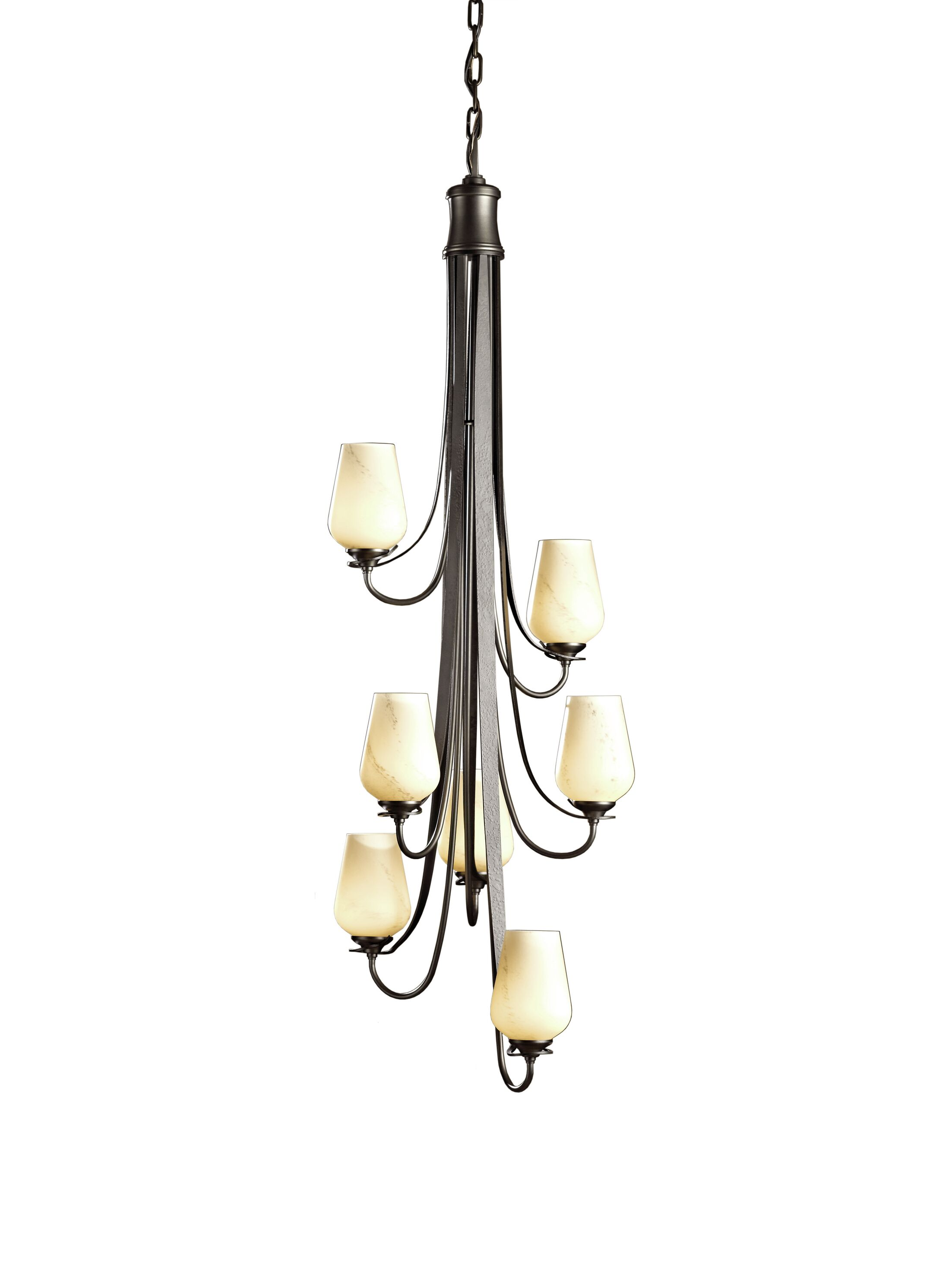Flora 7-Light Shaded Chandelier Glass Type: Seeded Clear Glass, Finish: Natural Iron