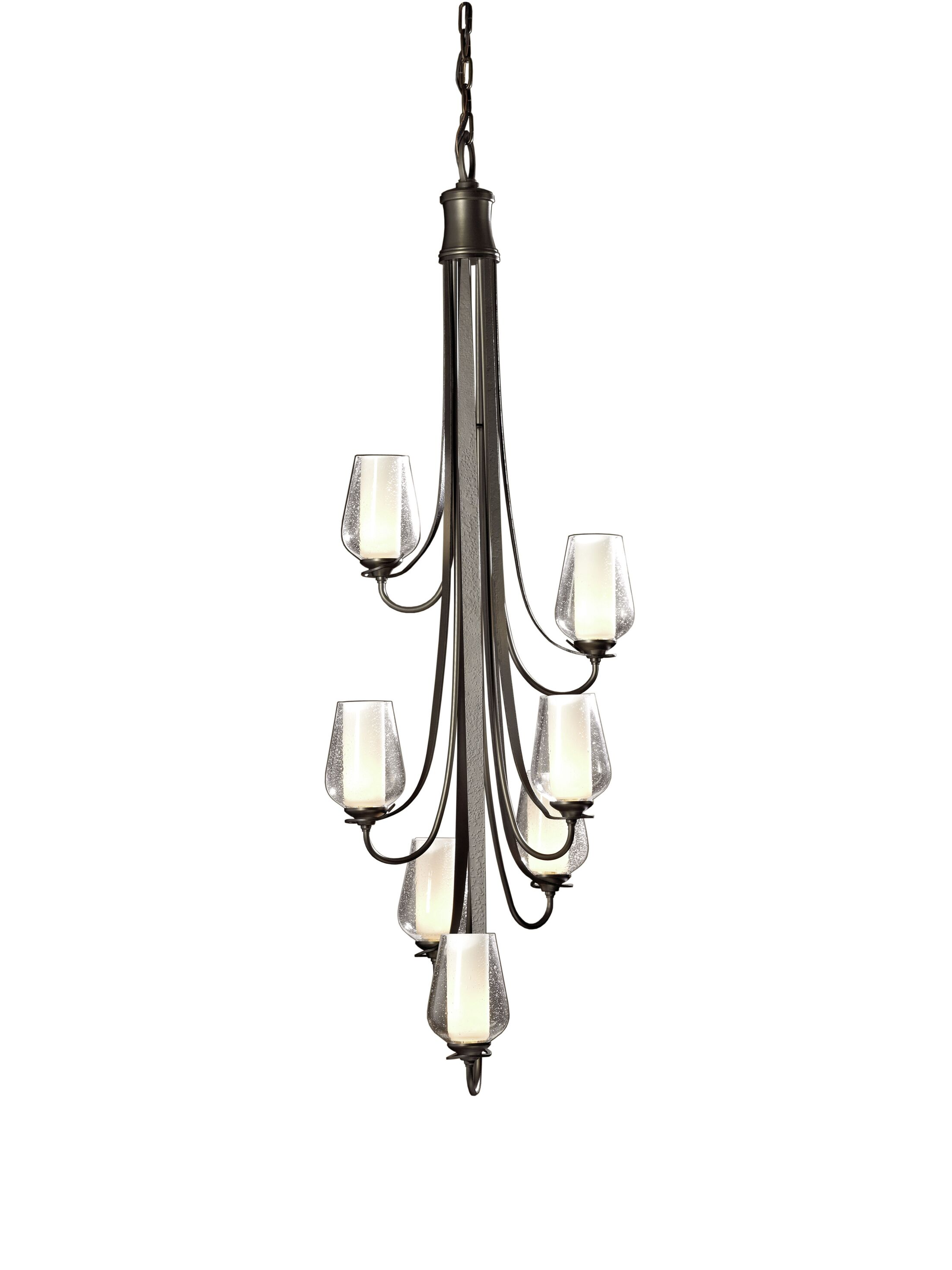 Flora 7-Light Shaded Chandelier Glass Type: Seeded Clear Glass, Finish: Bronze