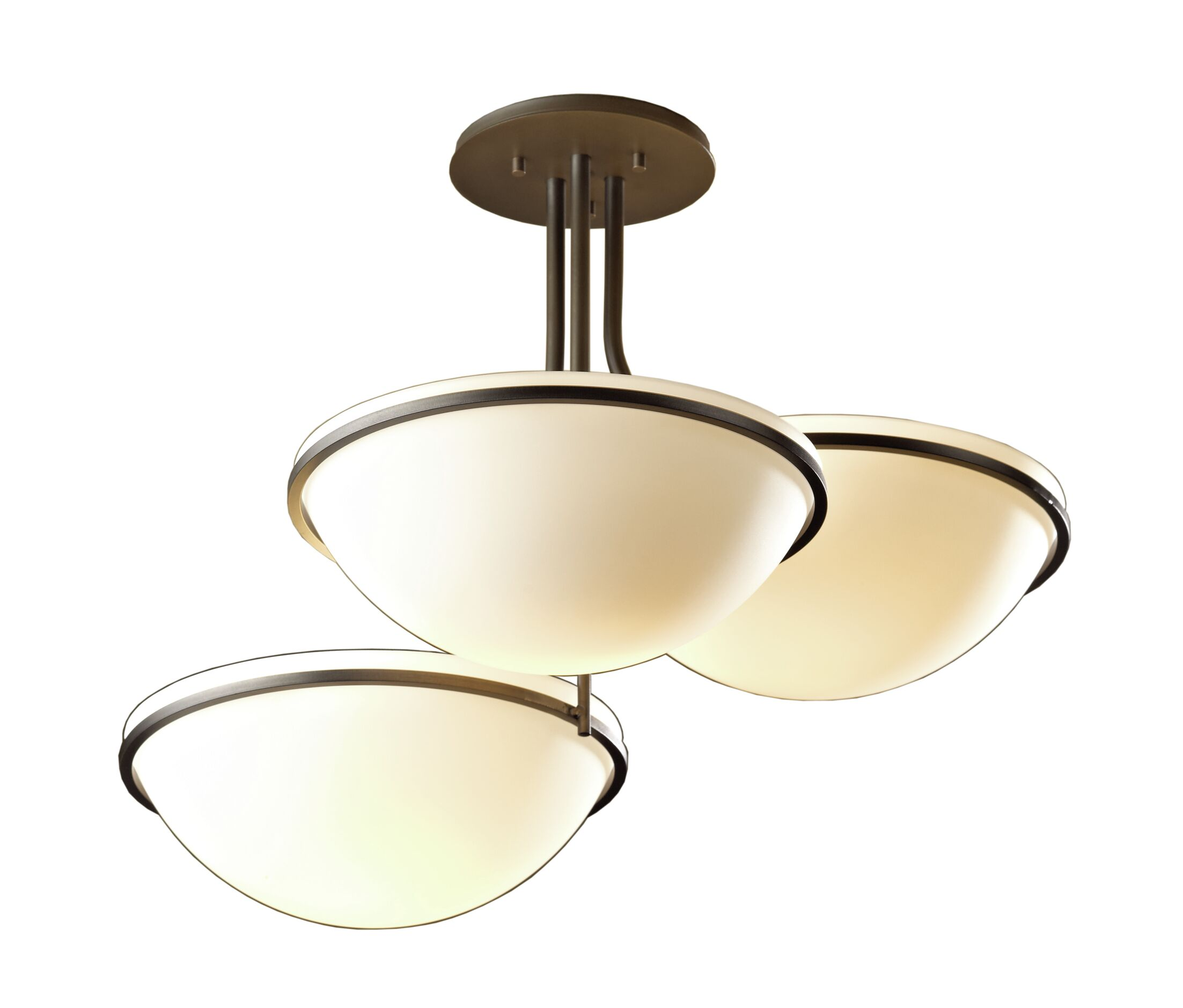 Moonband 3-Light Semi Flush Mount Glass Type: Stone Glass, Finish: Black