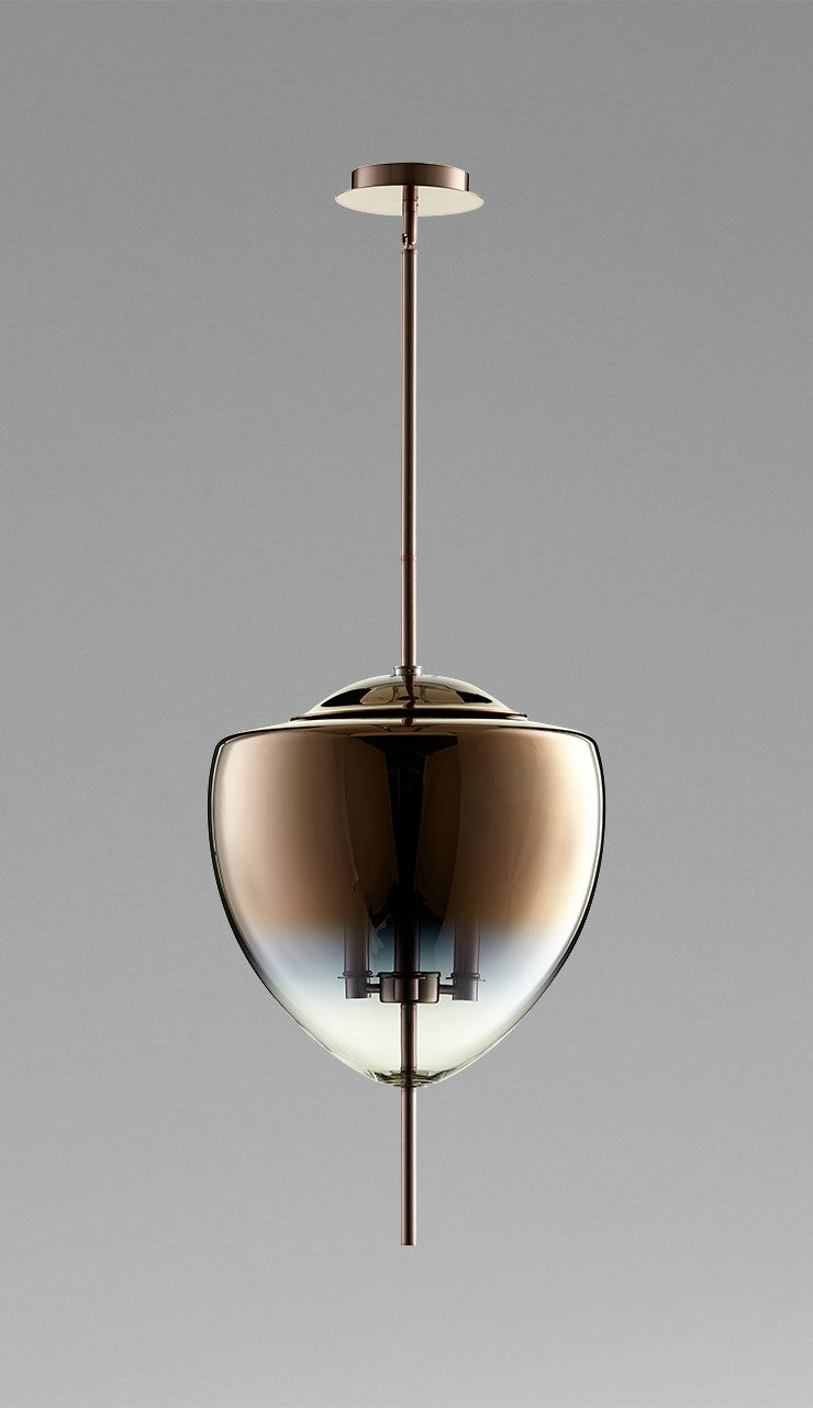 Ember 3-Light Schoolhouse Pendant Finish / Shade Finish: Satin Copper / Coffee Ombre Glass