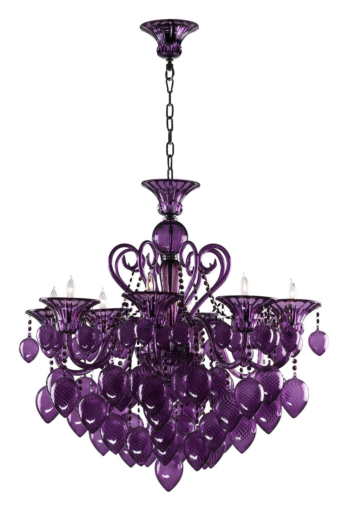 Bella 8-Light Chandelier Shade Color: Purple