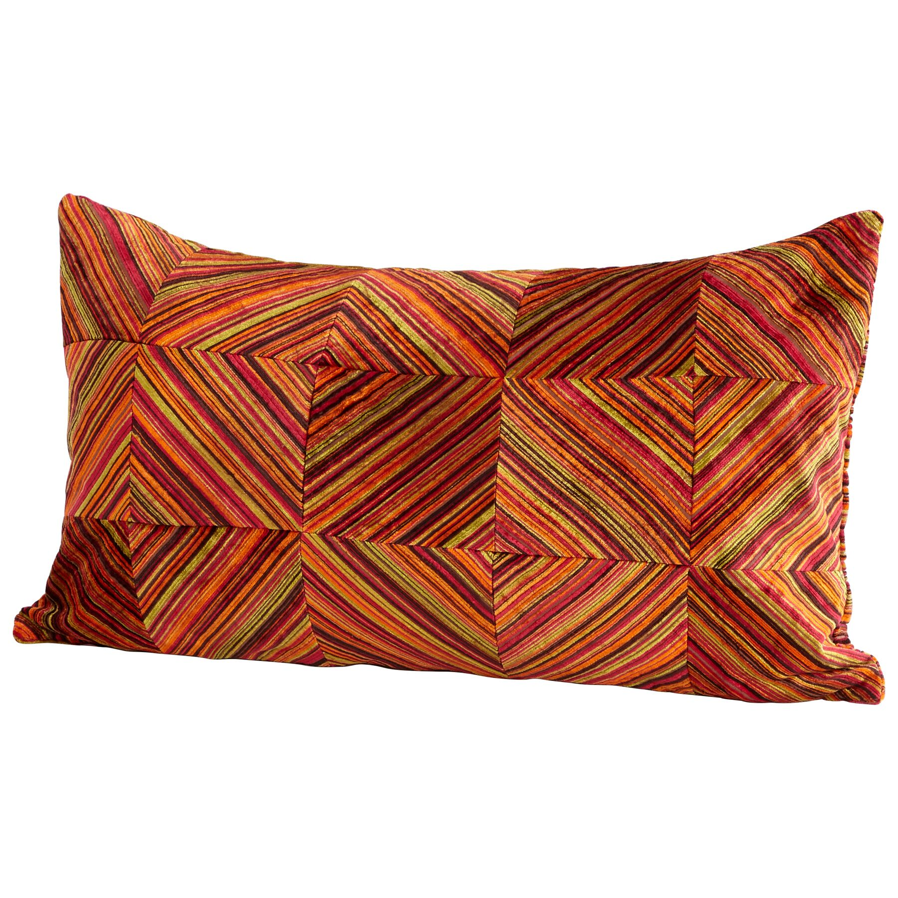 Dueling Diamonds Decorative Cotton Lumbar Pillow