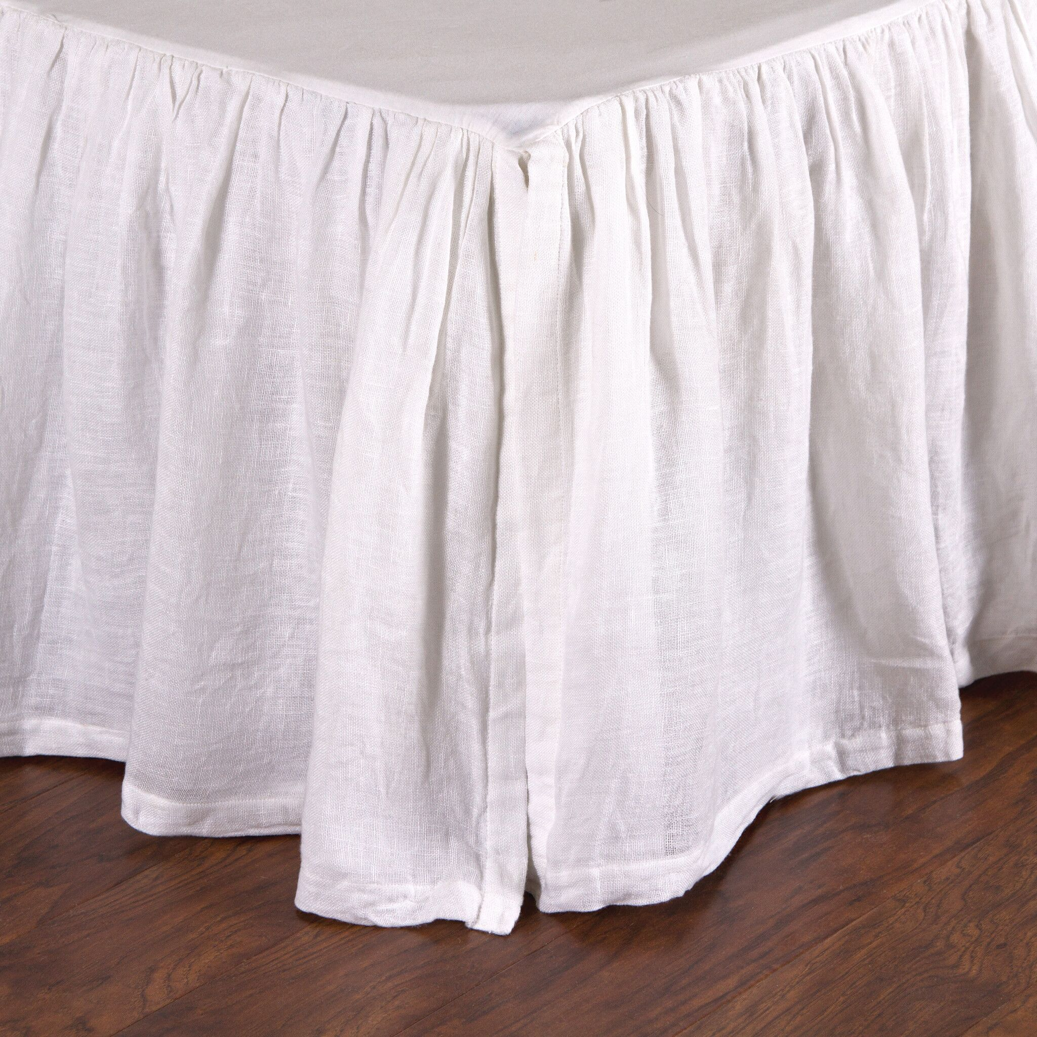 Linen Voile Bed Skirt Size: Twin, Color: White