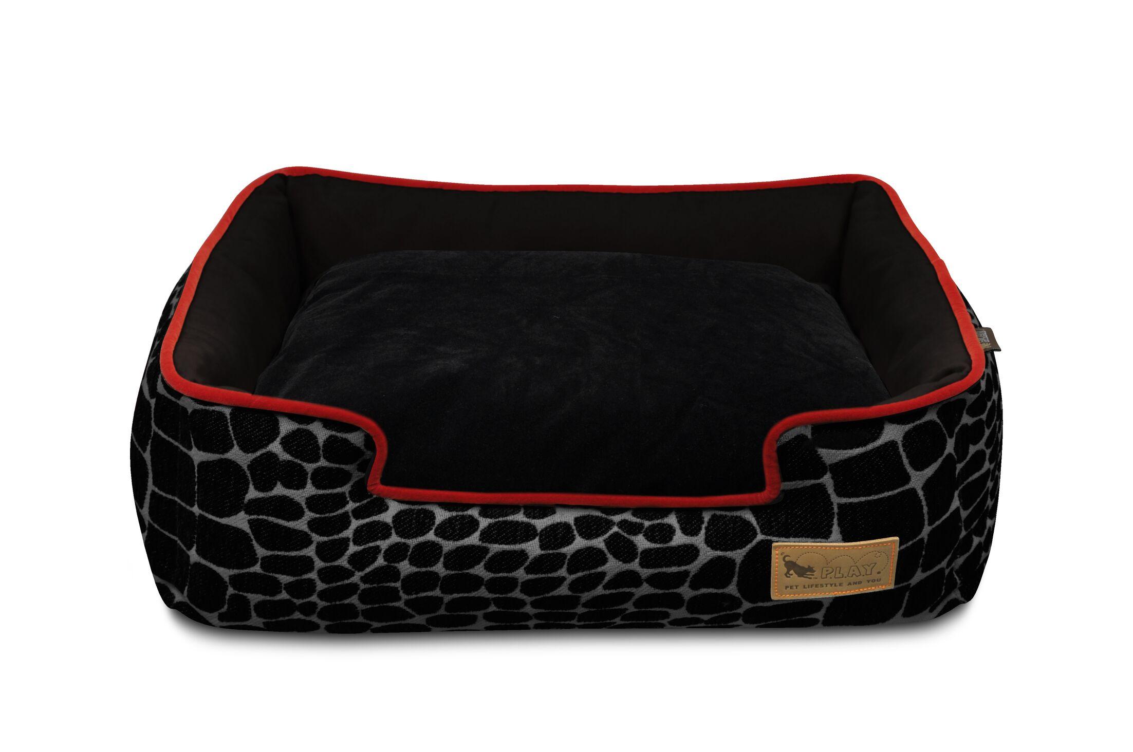 Original Kalahari Lounge Pet Bed Color: Black Giraffe / Sangria, Size: X-Large (44