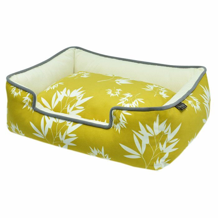 Martinez Bamboo Lounge Pet Bed Color: Mustard / Pebble Gray, Size: X-Large (44