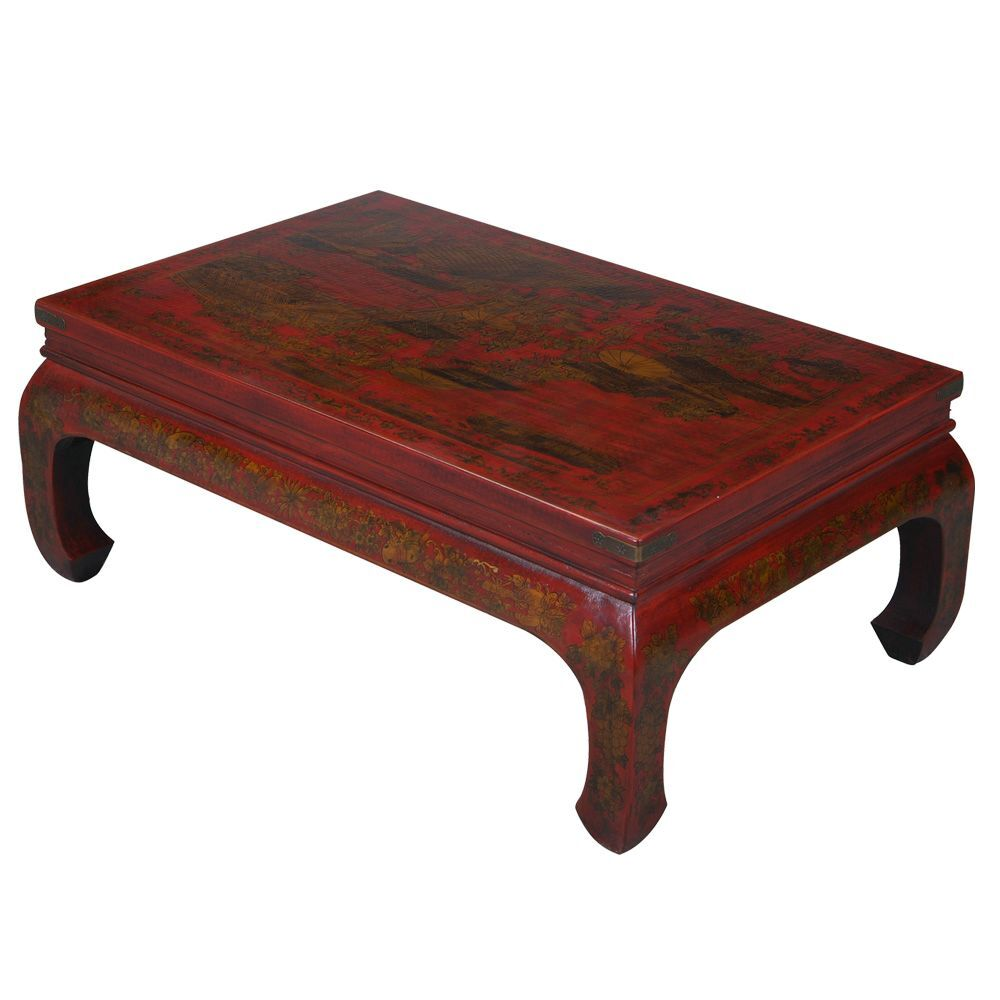 Handmade Oriental Antique Coffee Table Color: Red