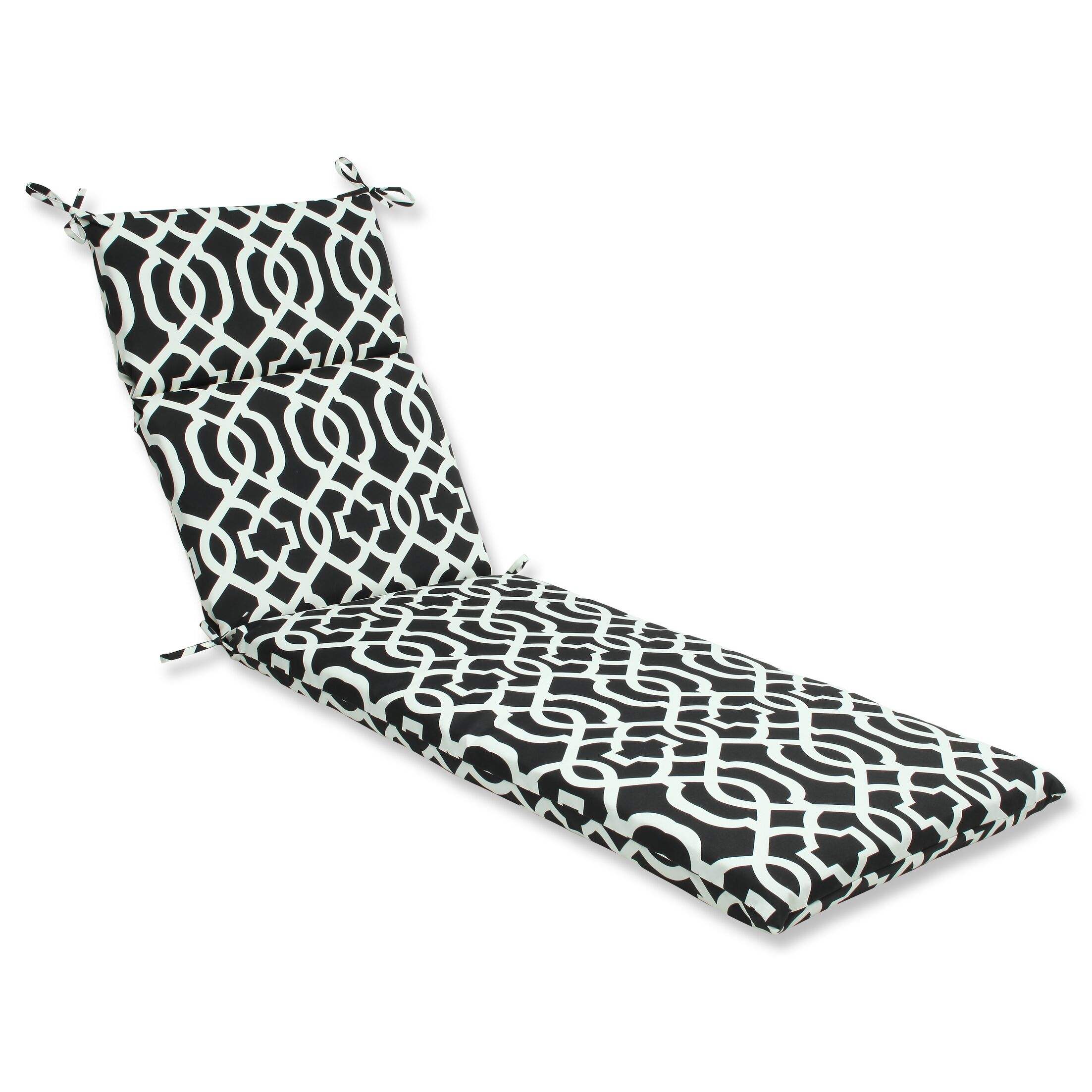 New Geo Indoor/Outdoor Chaise Lounge Cushion Fabric: Black / White
