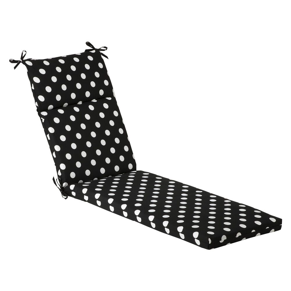 Polka Dot Indoor/Outdoor Chaise Lounge Cushion Fabric: Black/White Polka Dot