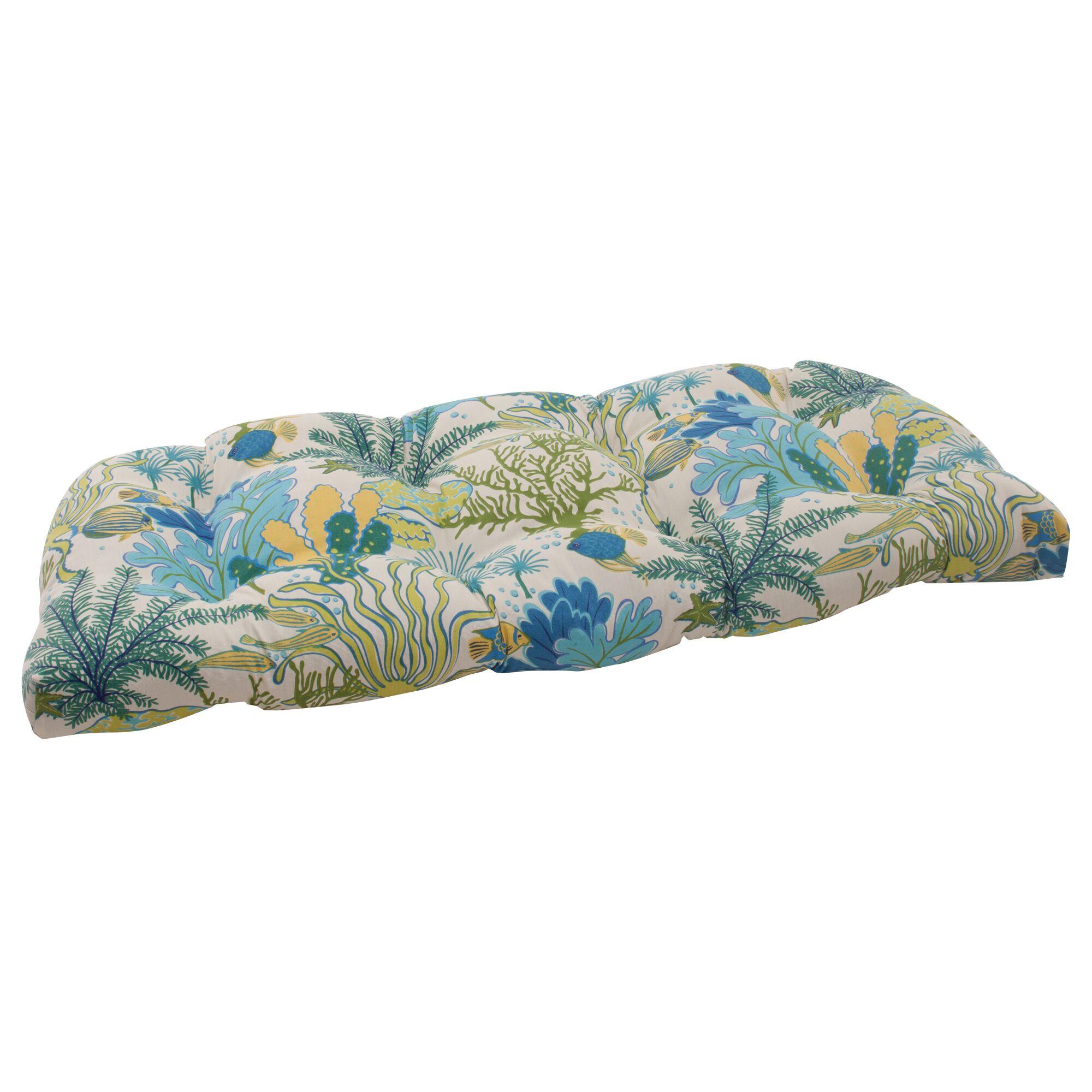 Splish Splash Indoor/Outdoor Loveseat Cushion Color: Cream / Green / Blue / Turquoise