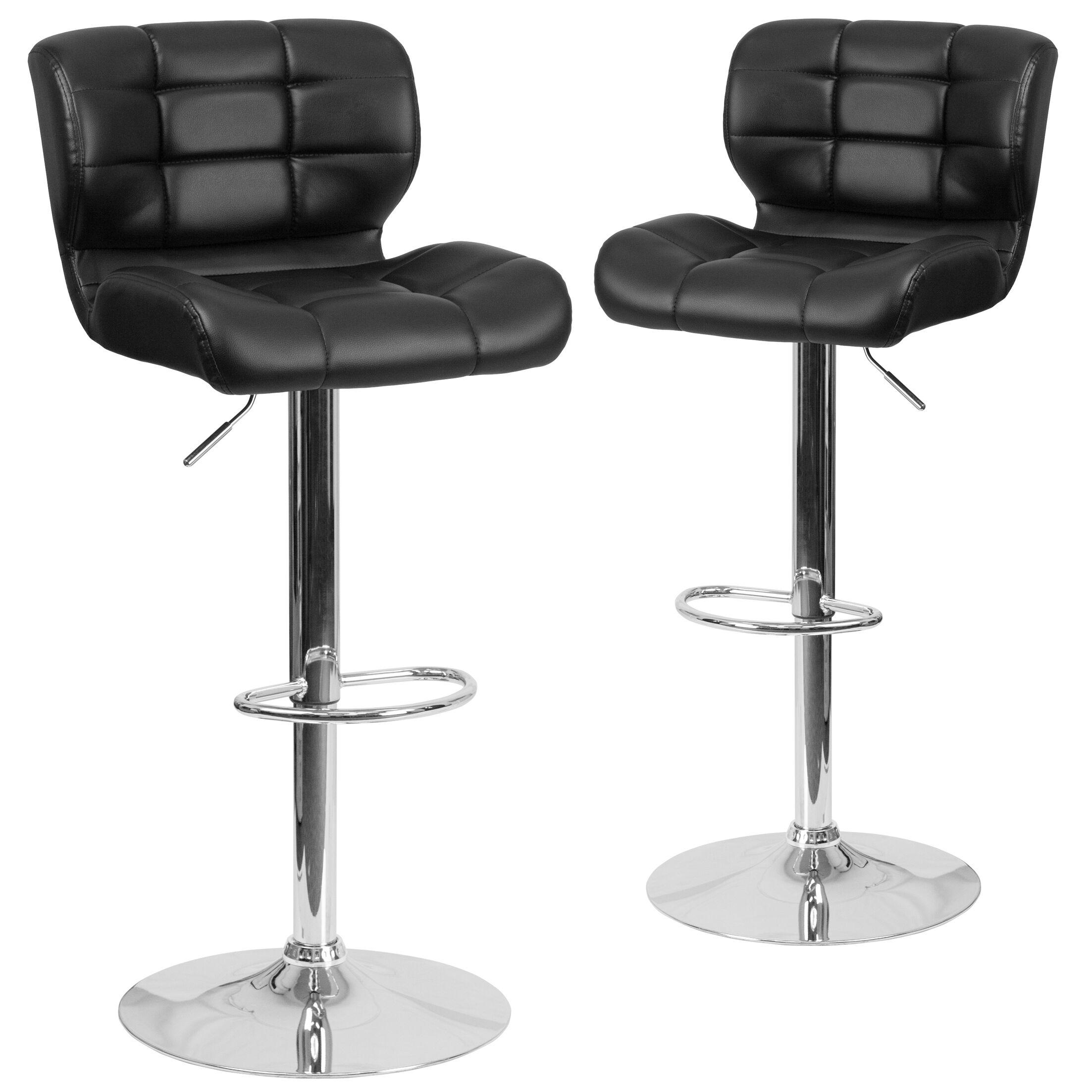 North Widcombe Adjustable Height Swivel Bar Stool Upholstery: Black