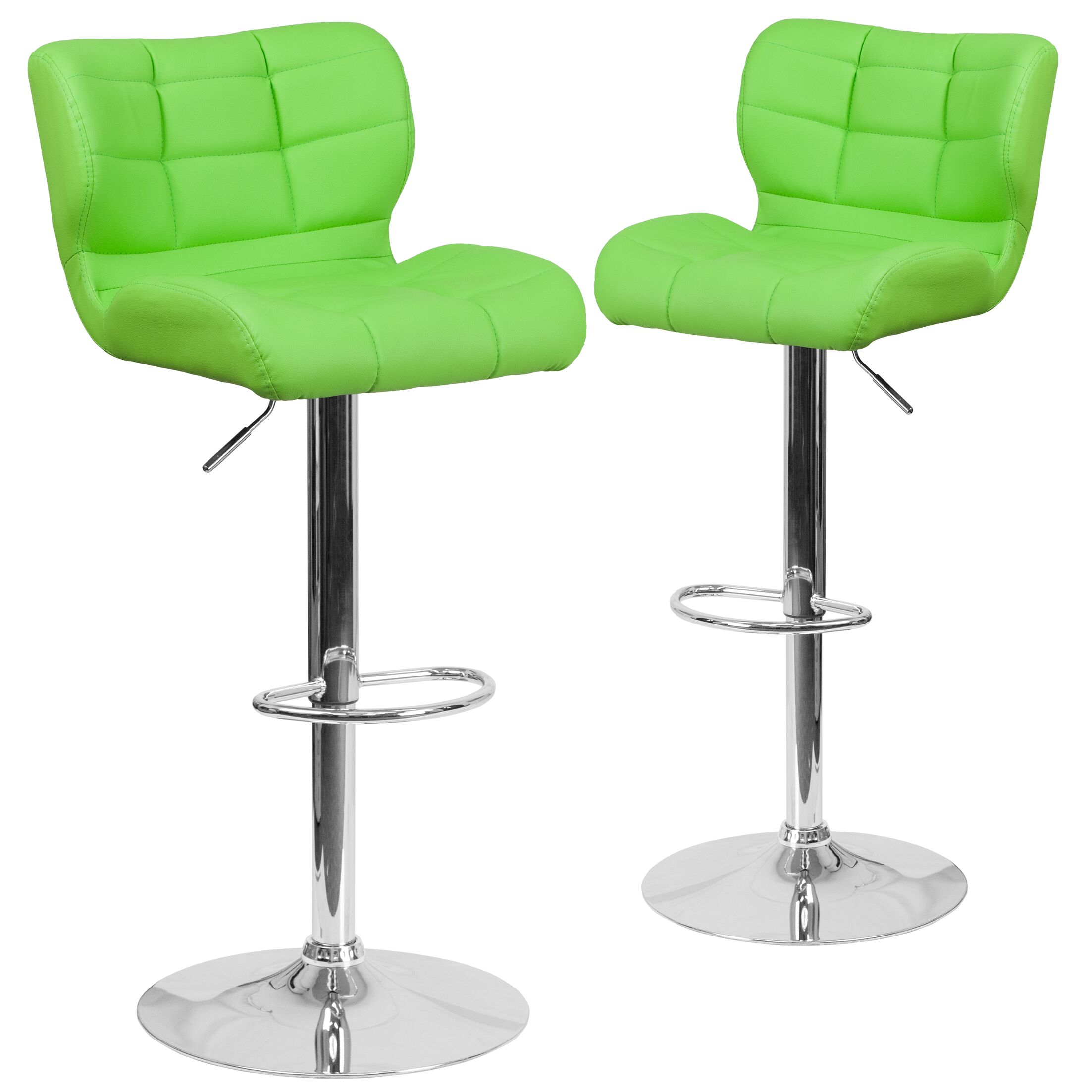 North Widcombe Adjustable Height Swivel Bar Stool Upholstery: Green