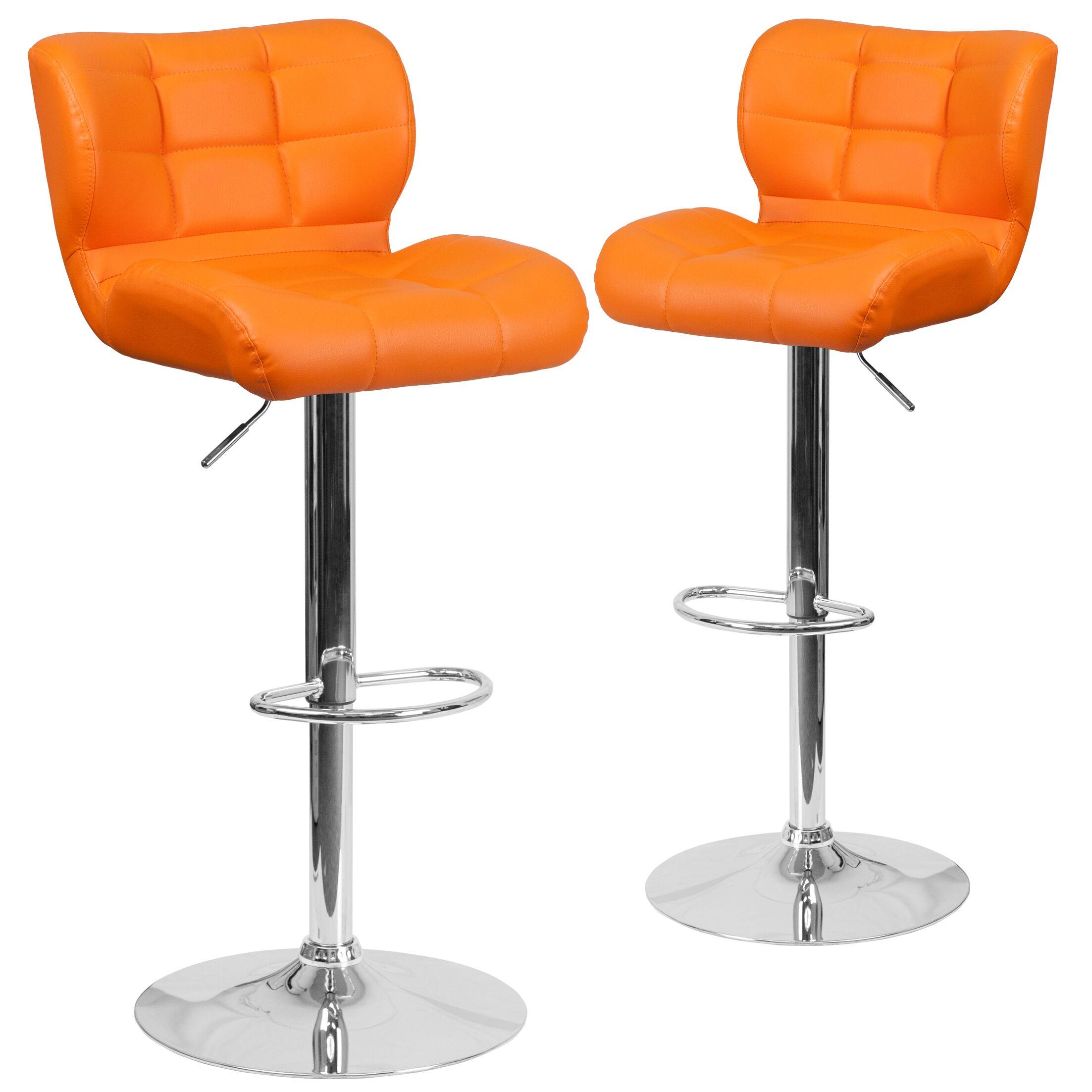 North Widcombe Adjustable Height Swivel Bar Stool Upholstery: Orange