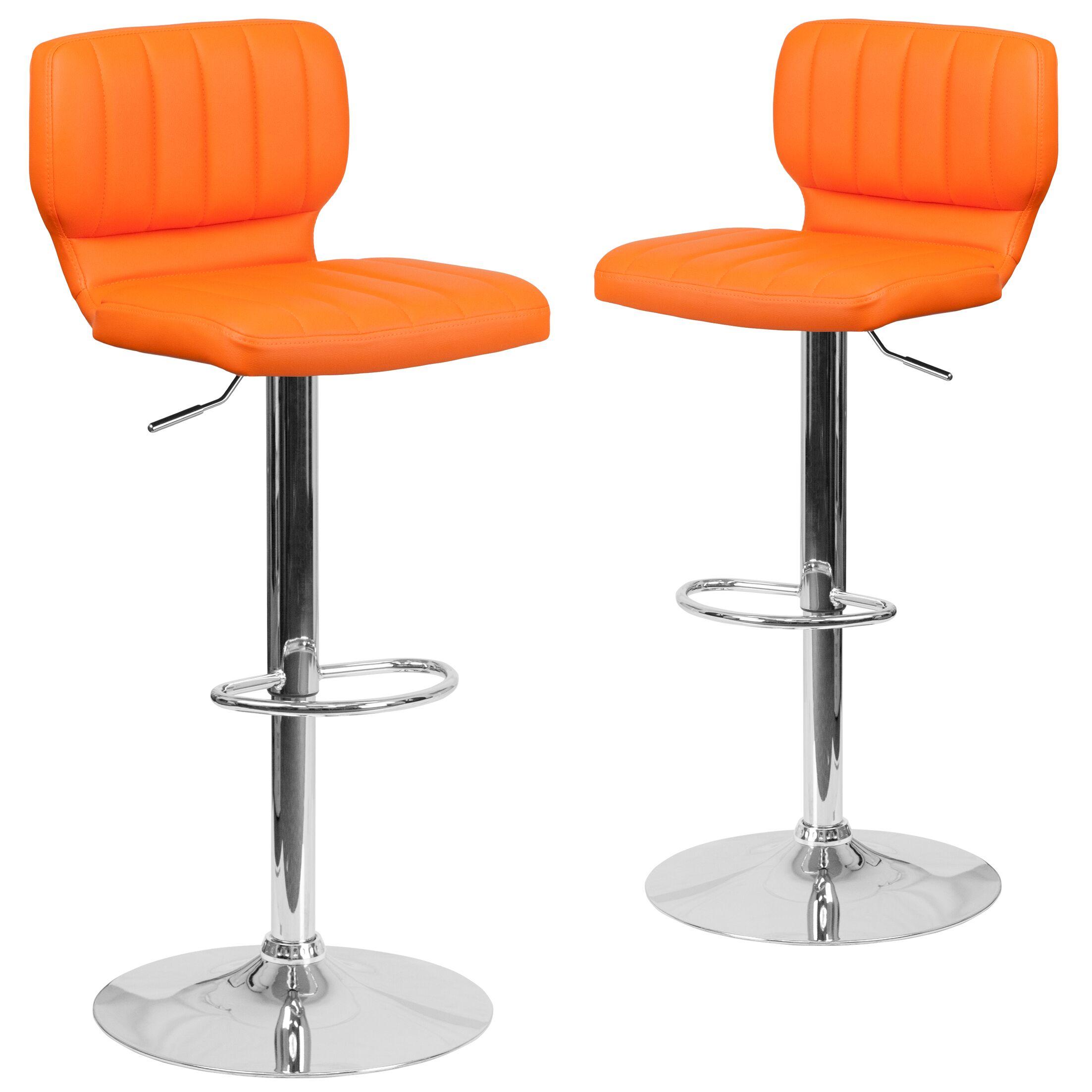 Norrell Adjustable Swivel Bar Stool Upholstery: Orange