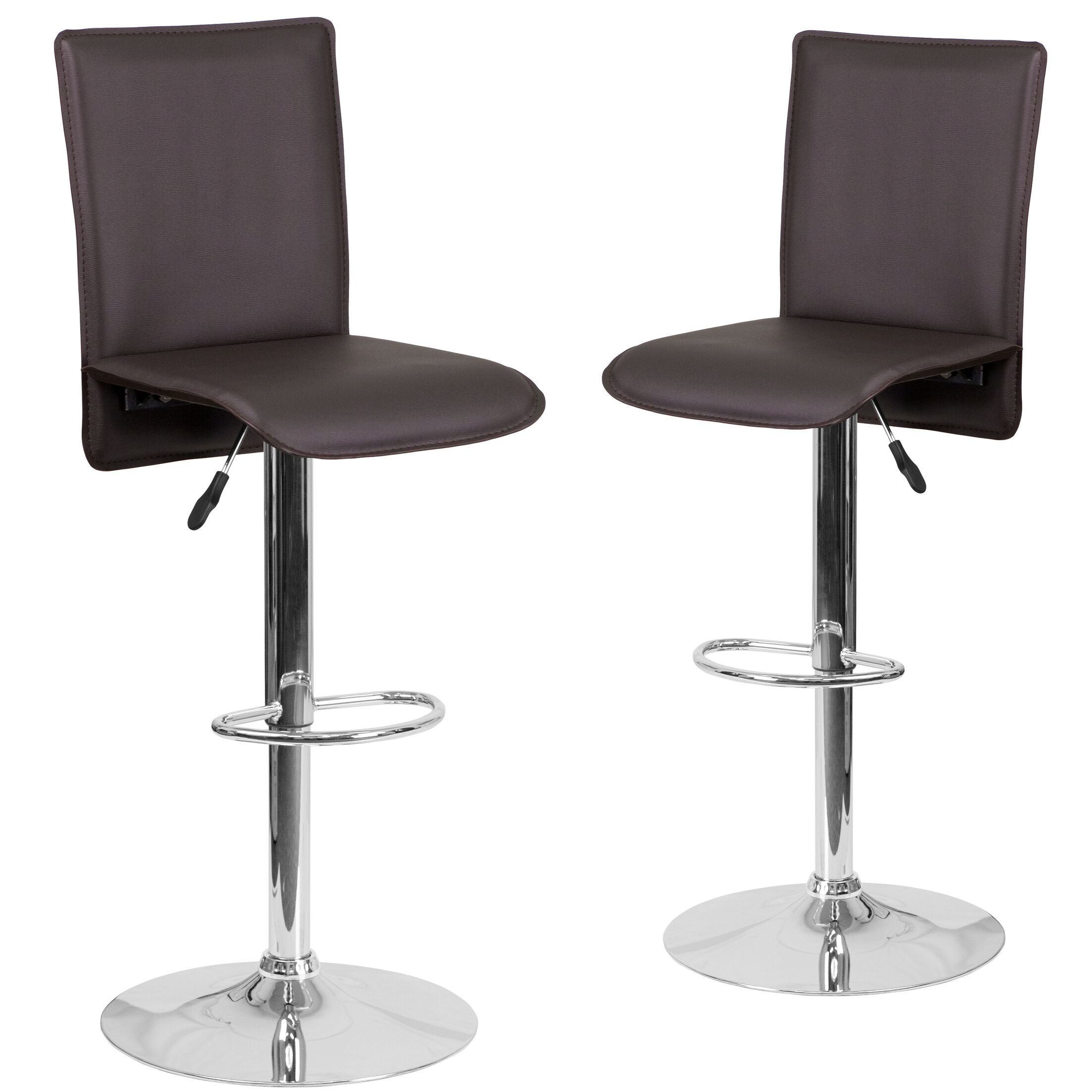 Norby Adjustable Height Swivel Bar Stool Upholstery: Brown