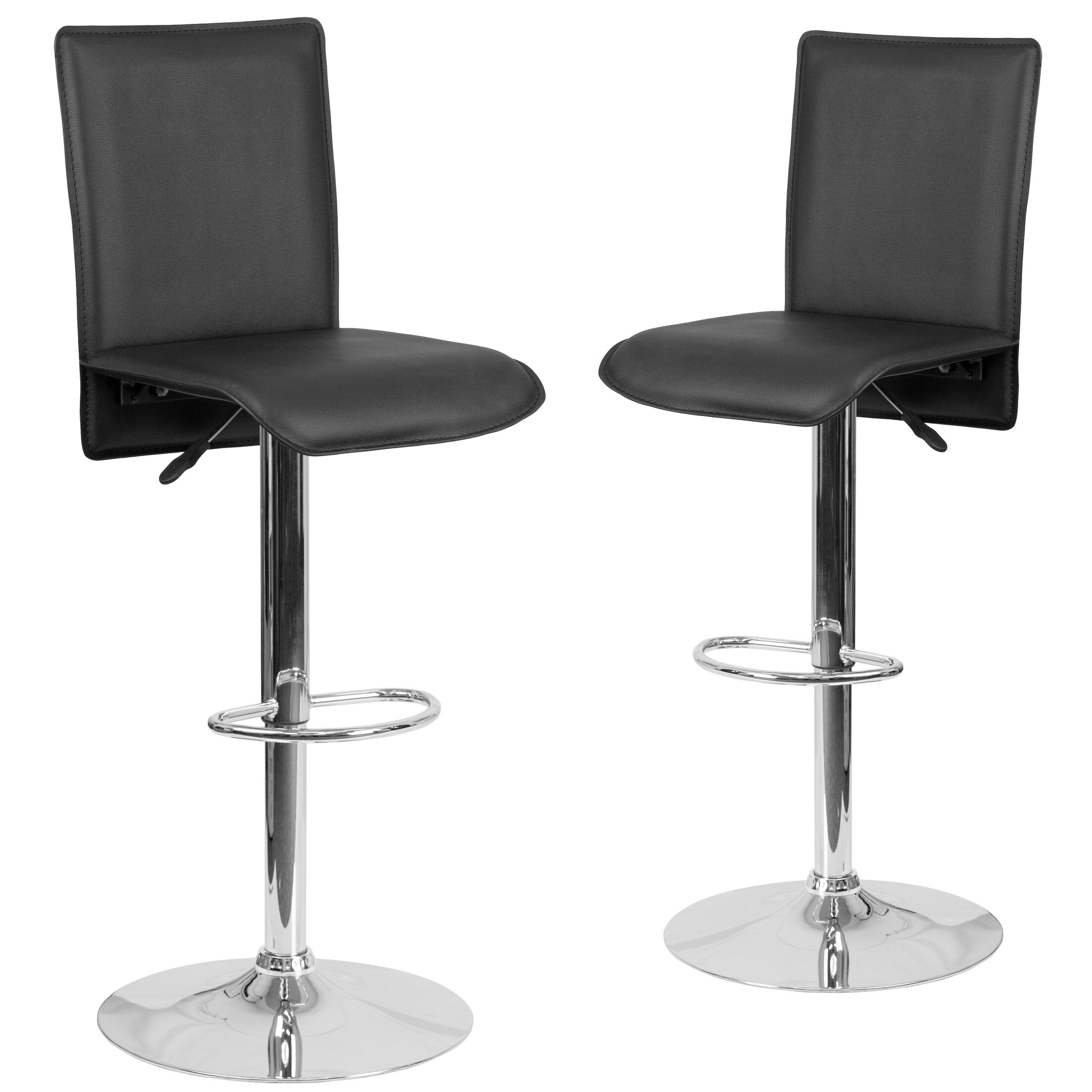 Norby Adjustable Height Swivel Bar Stool Upholstery: Black