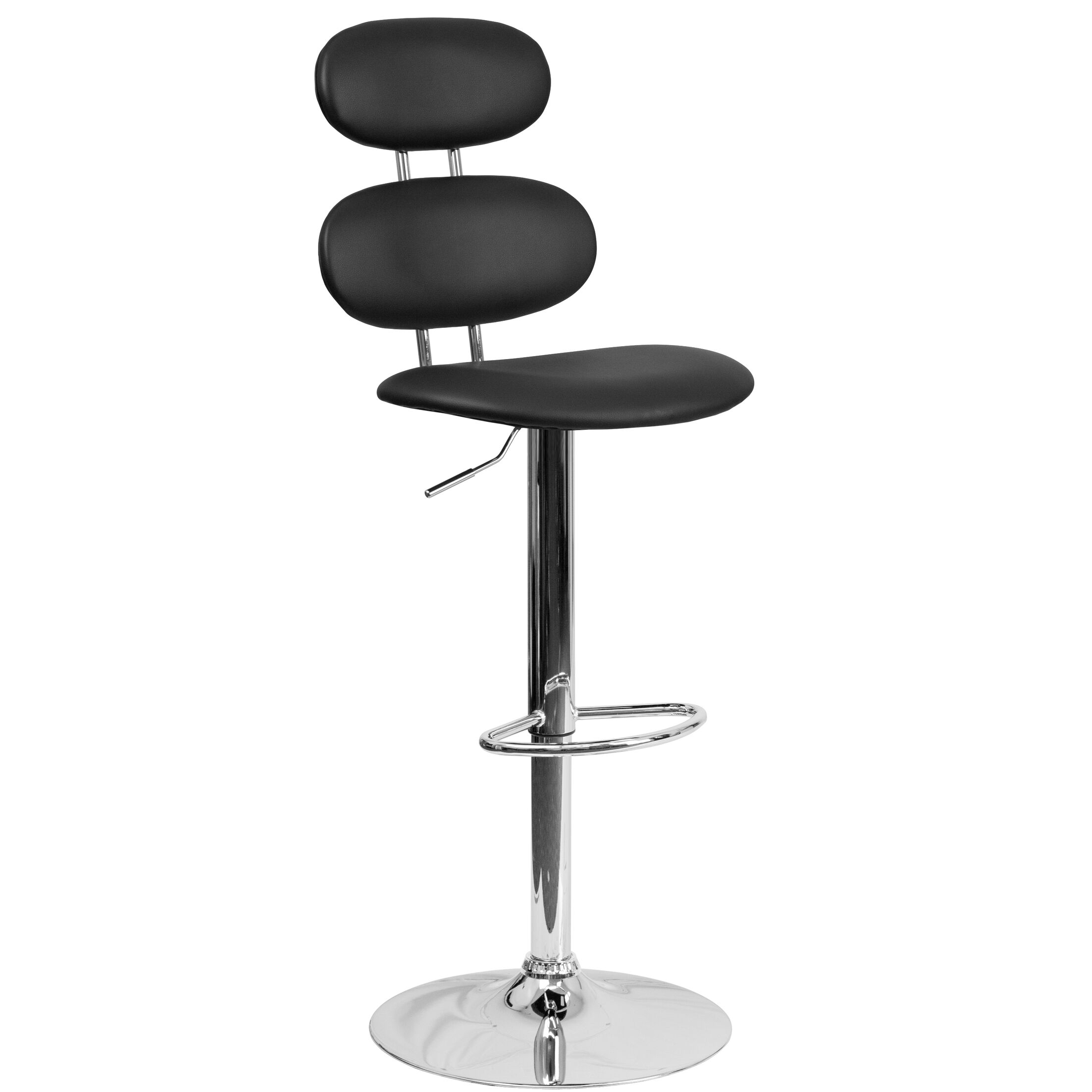 Norberg Adjustable Height Swivel Bar Stool Upholstery: Black