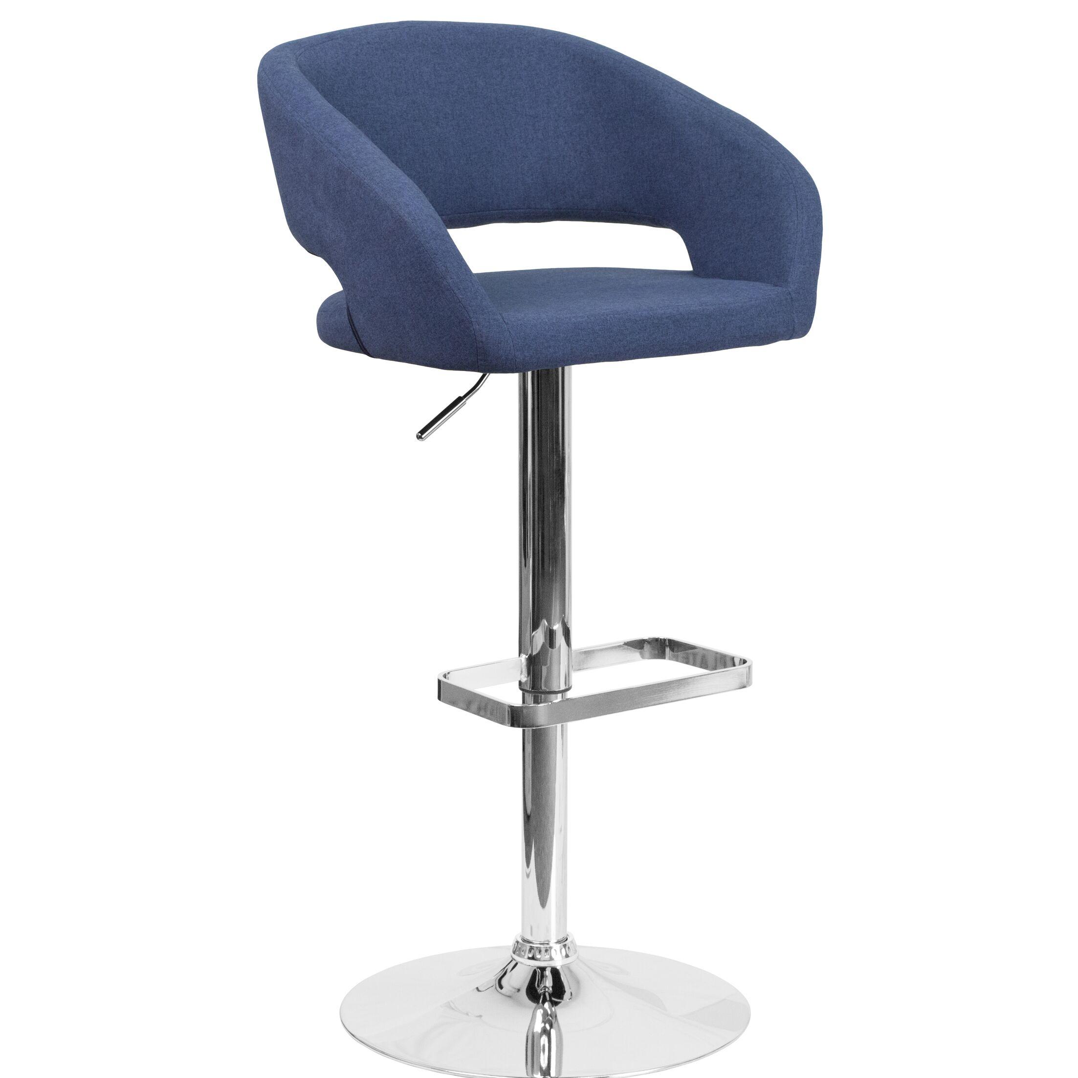 Noonkester Adjustable Height Swivel Bar Stool Upholstery: Blue