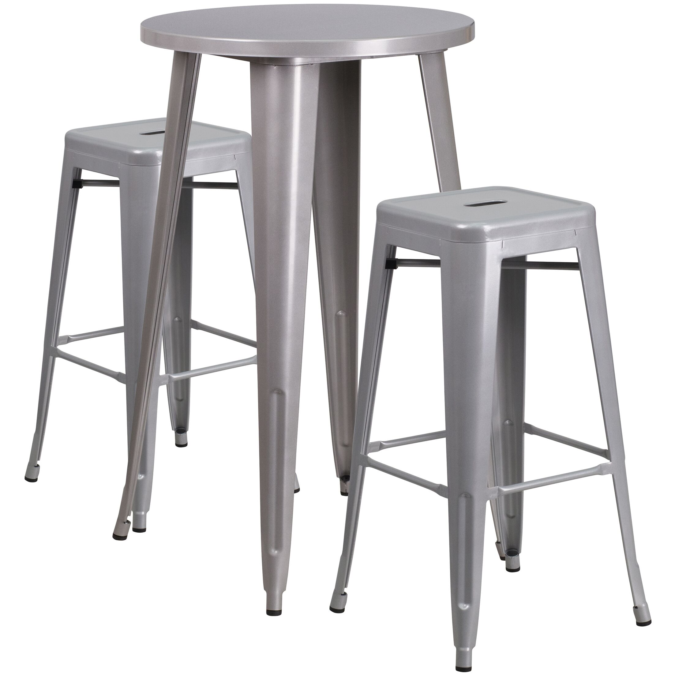 Mcmorrow 3 Piece Bar Height Dining Set Color: Silver, Table Size: 41