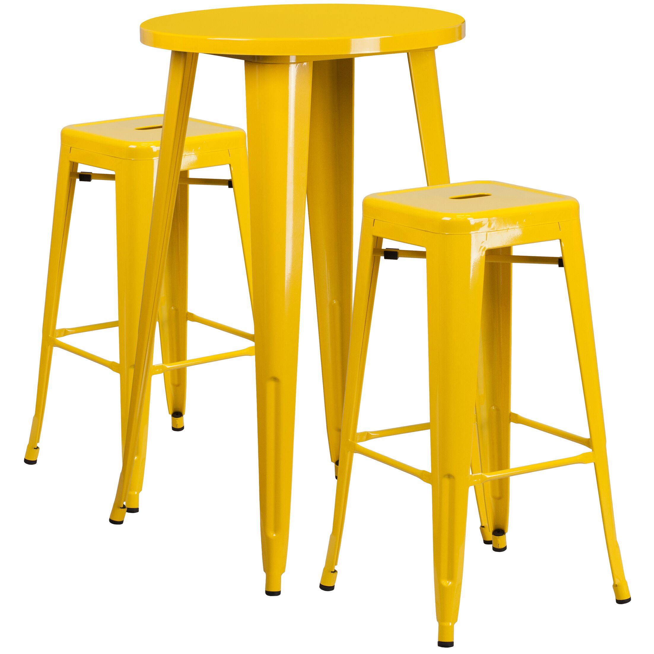 Mcmorrow 3 Piece Bar Height Dining Set Color: Yellow, Table Size: 41