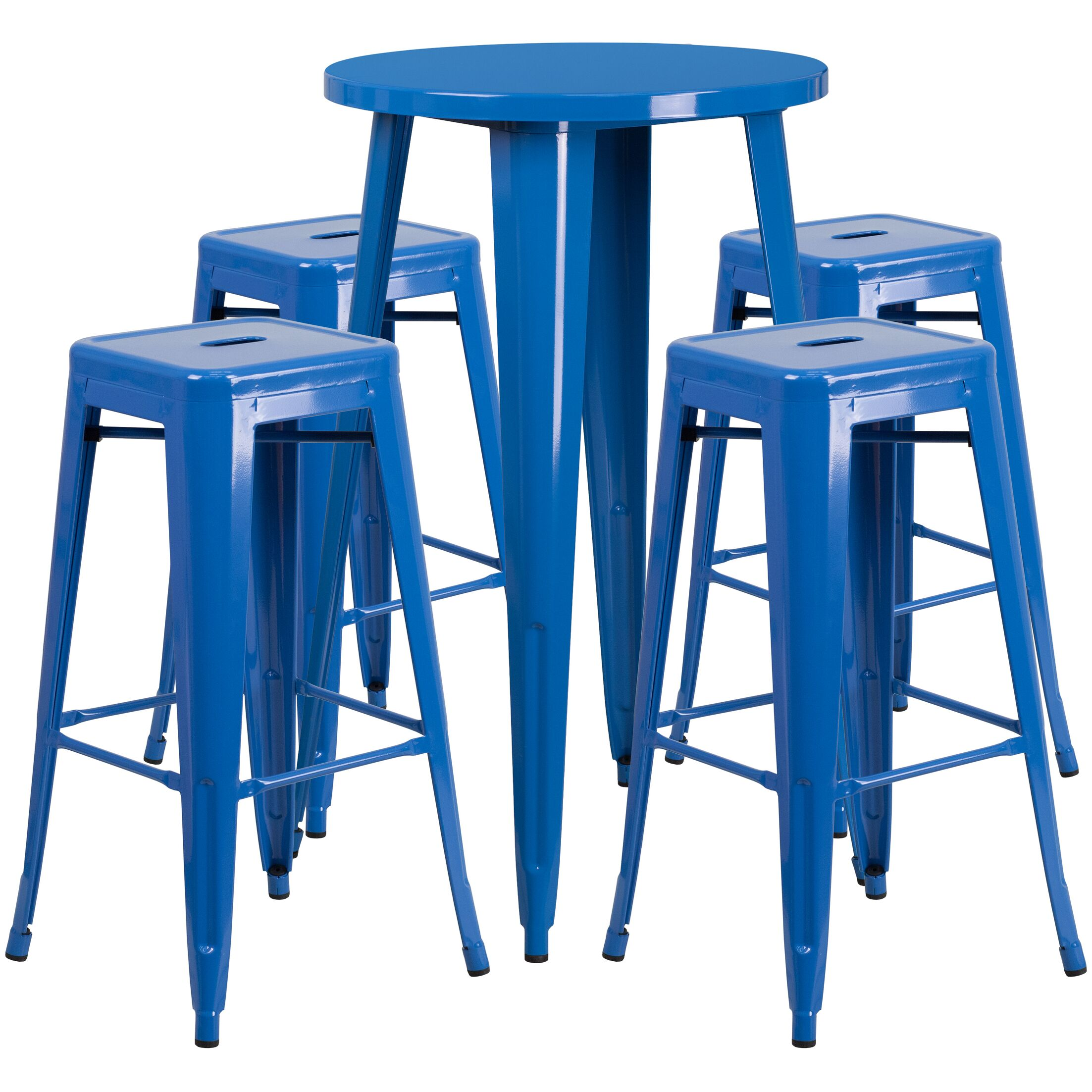 Colbert 5 Piece Bar Height Dining Set Finish: Blue, Table Size: 41