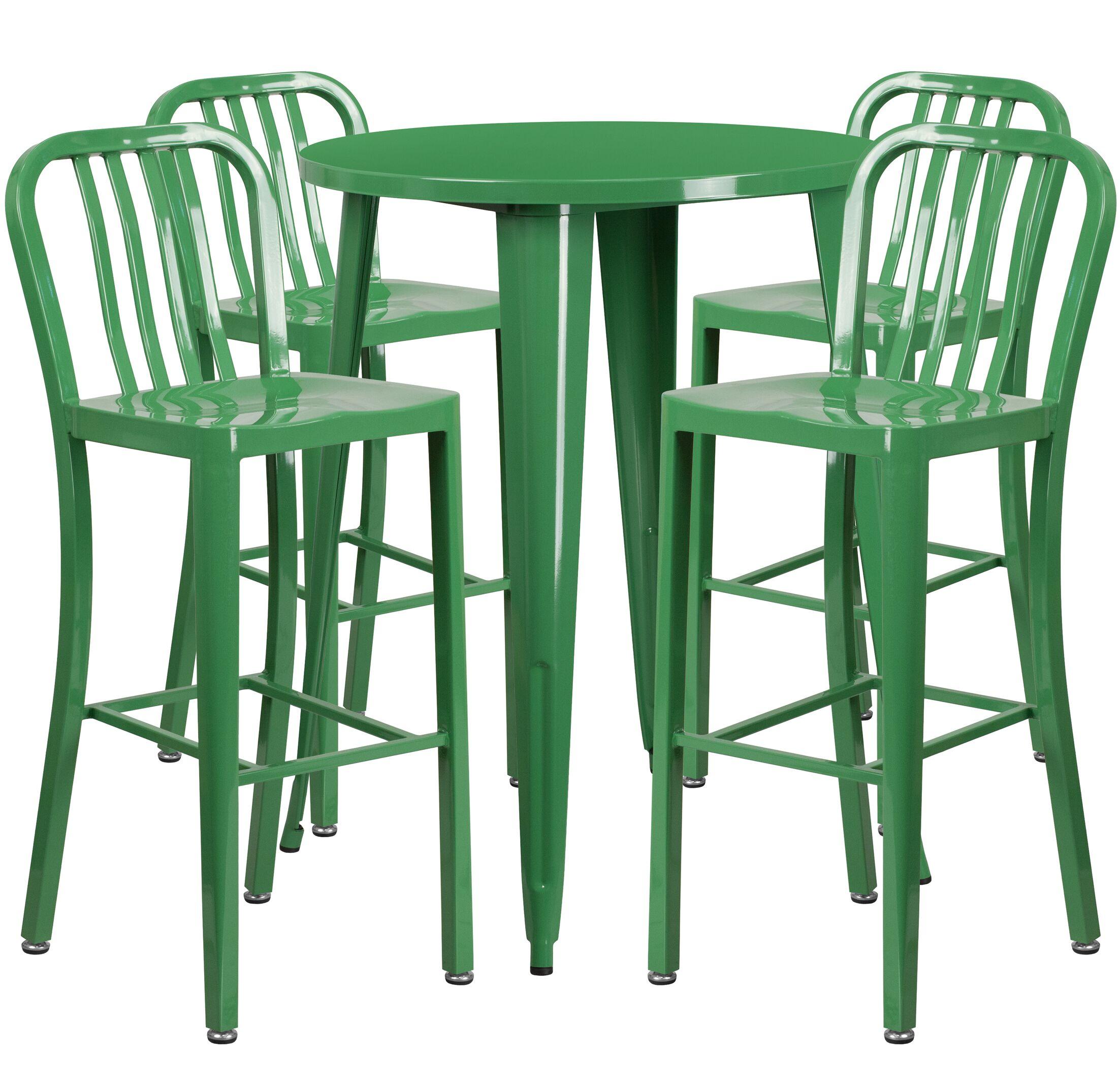 Posey 5 Piece Bar Height Dining Set Finish: Green