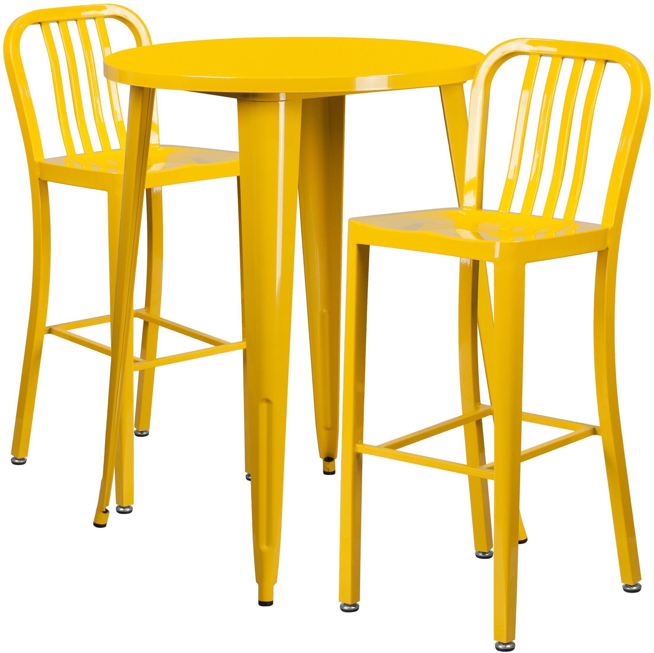 Avera 3 Piece Bar Height Dining Set Finish: Yellow