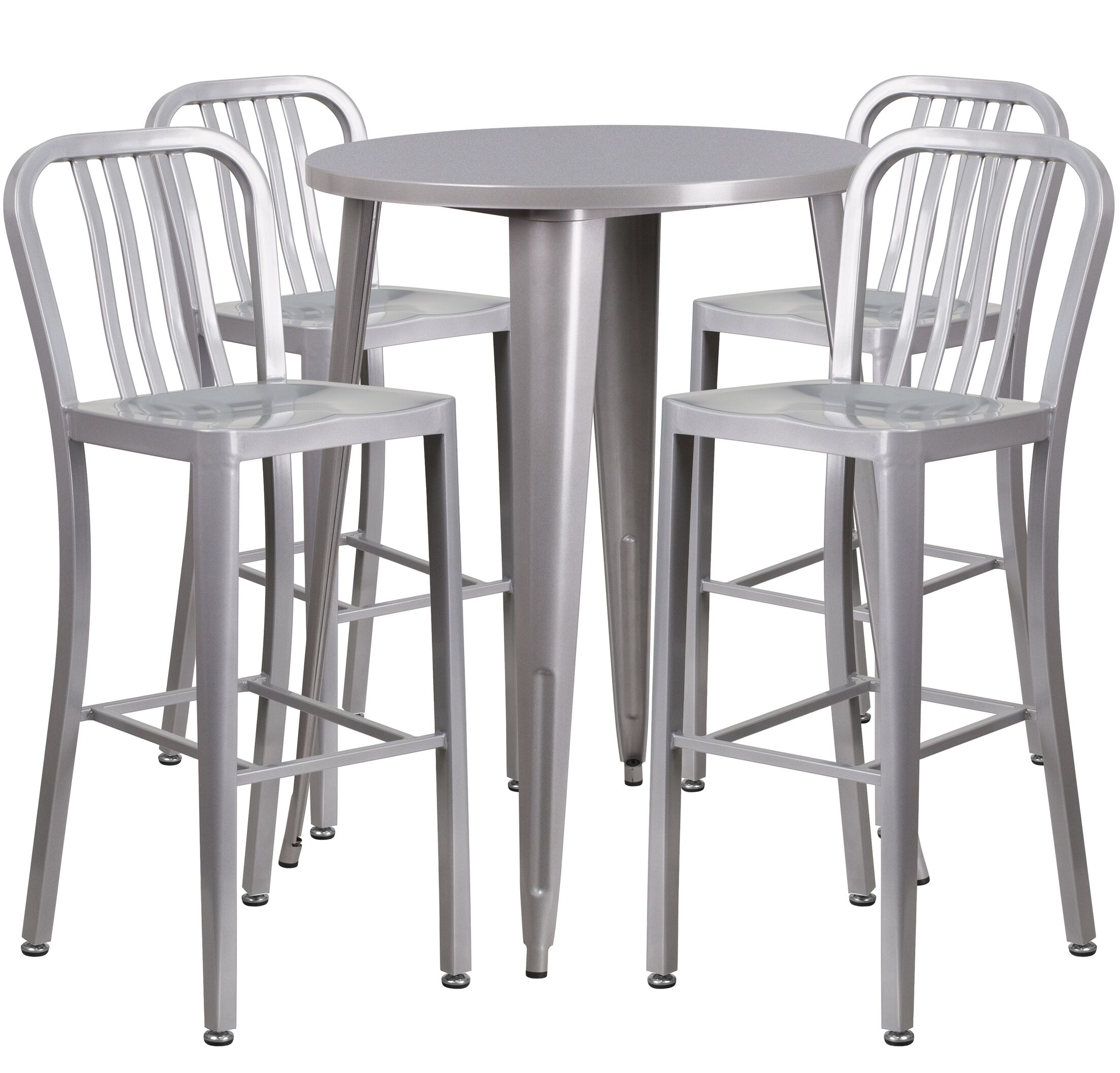 Posey 5 Piece Bar Height Dining Set Finish: Silver
