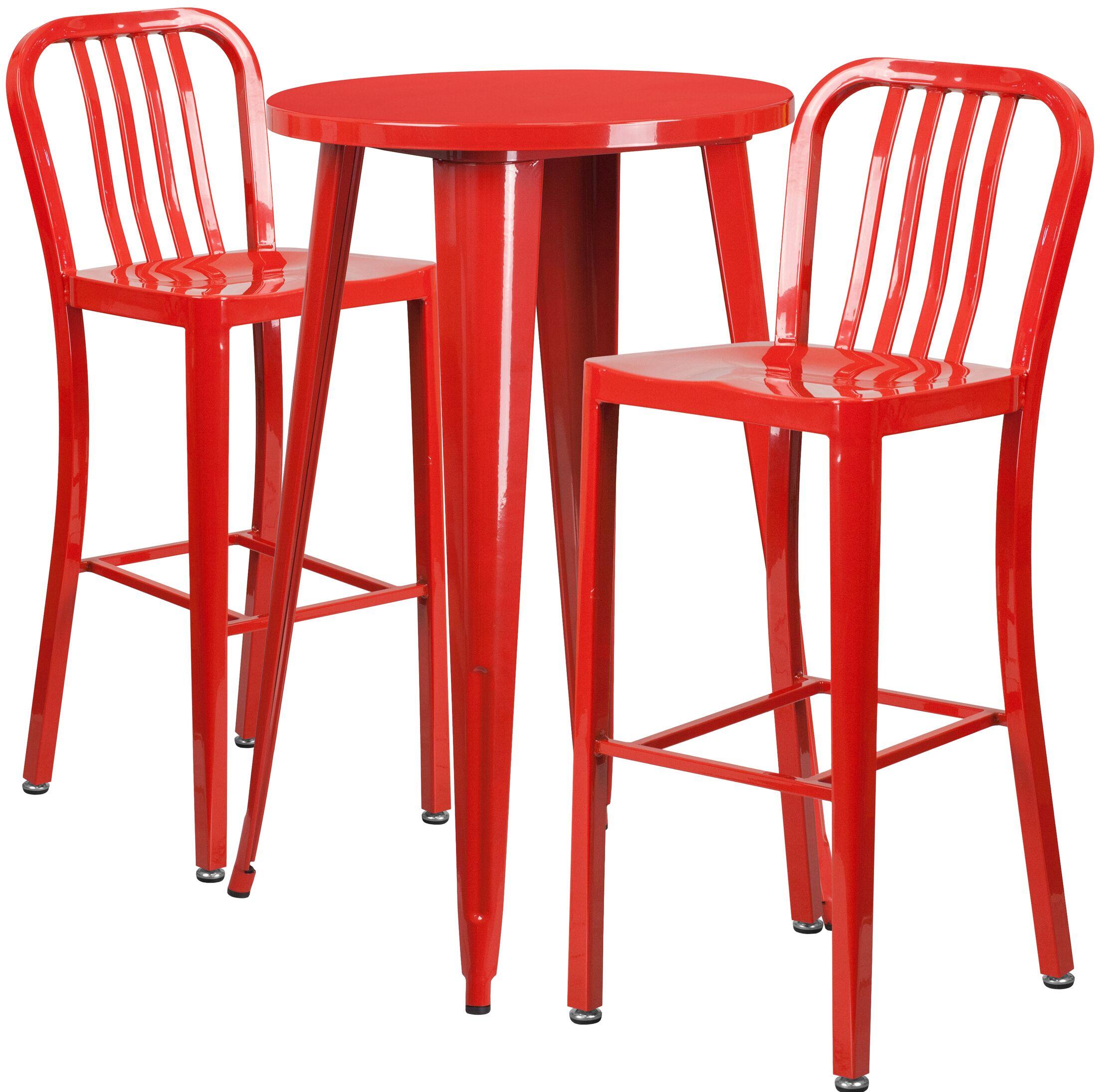 Sass 3 Piece Bar Height Dining Set Finish: Red
